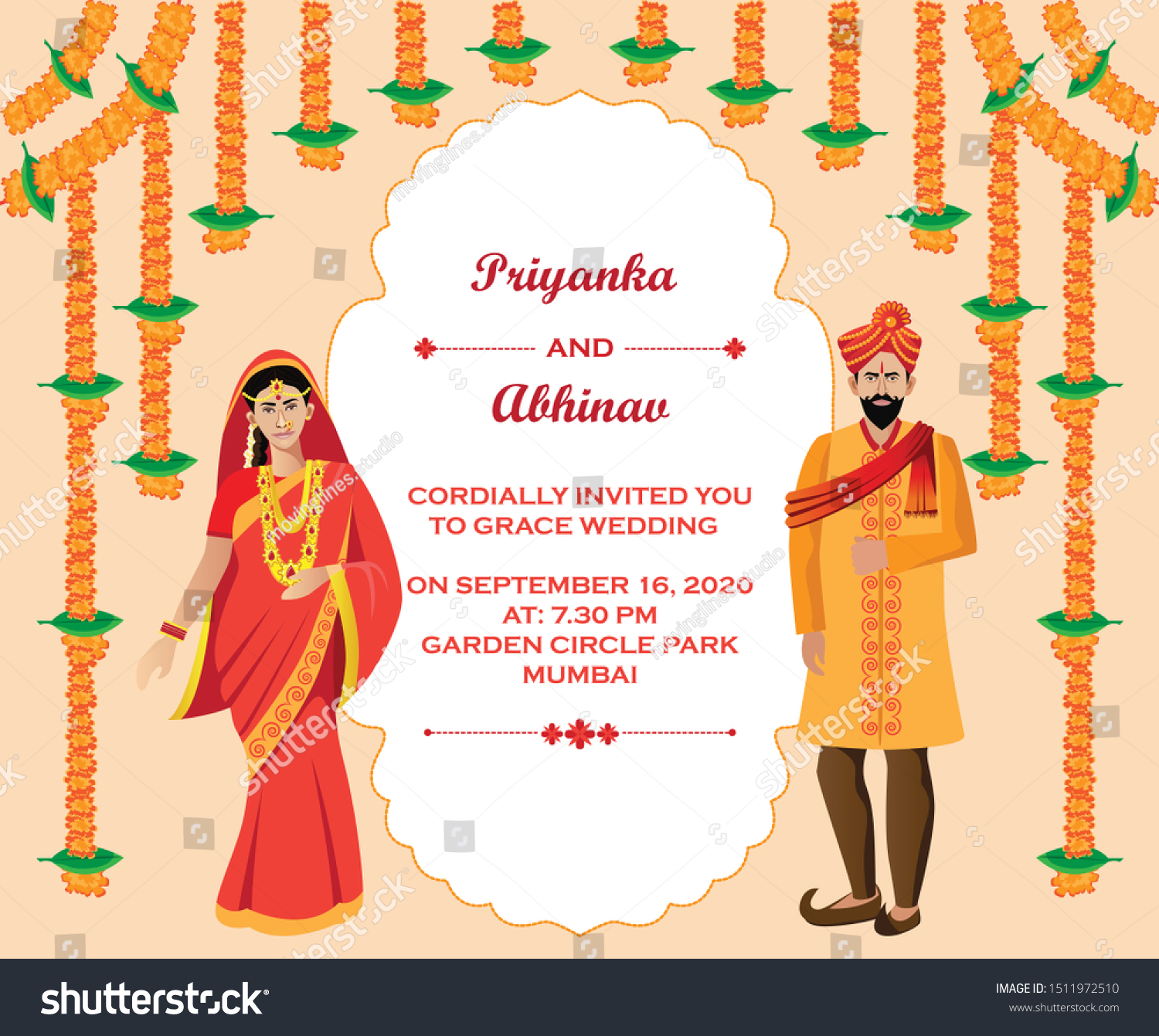Indian Hindu Wedding Invitation Card Design Stock Vector