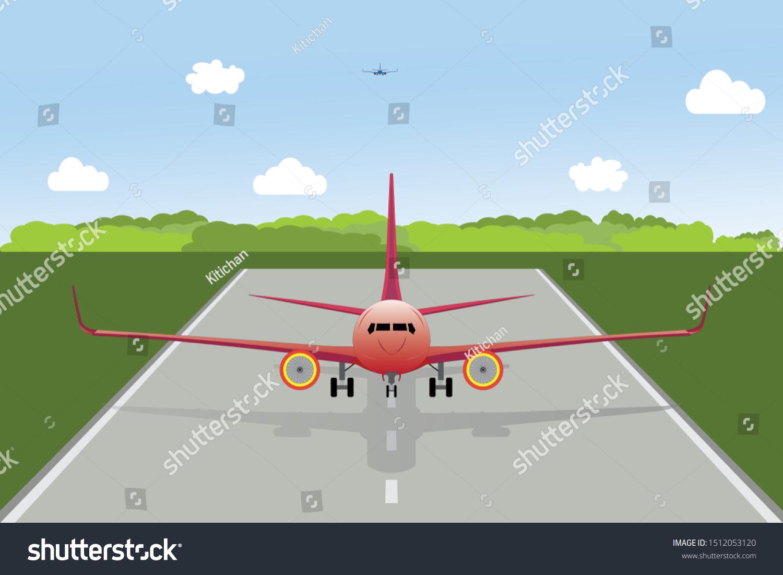 Airplane Take Off Landing On Runway Stock Vector Royalty Free