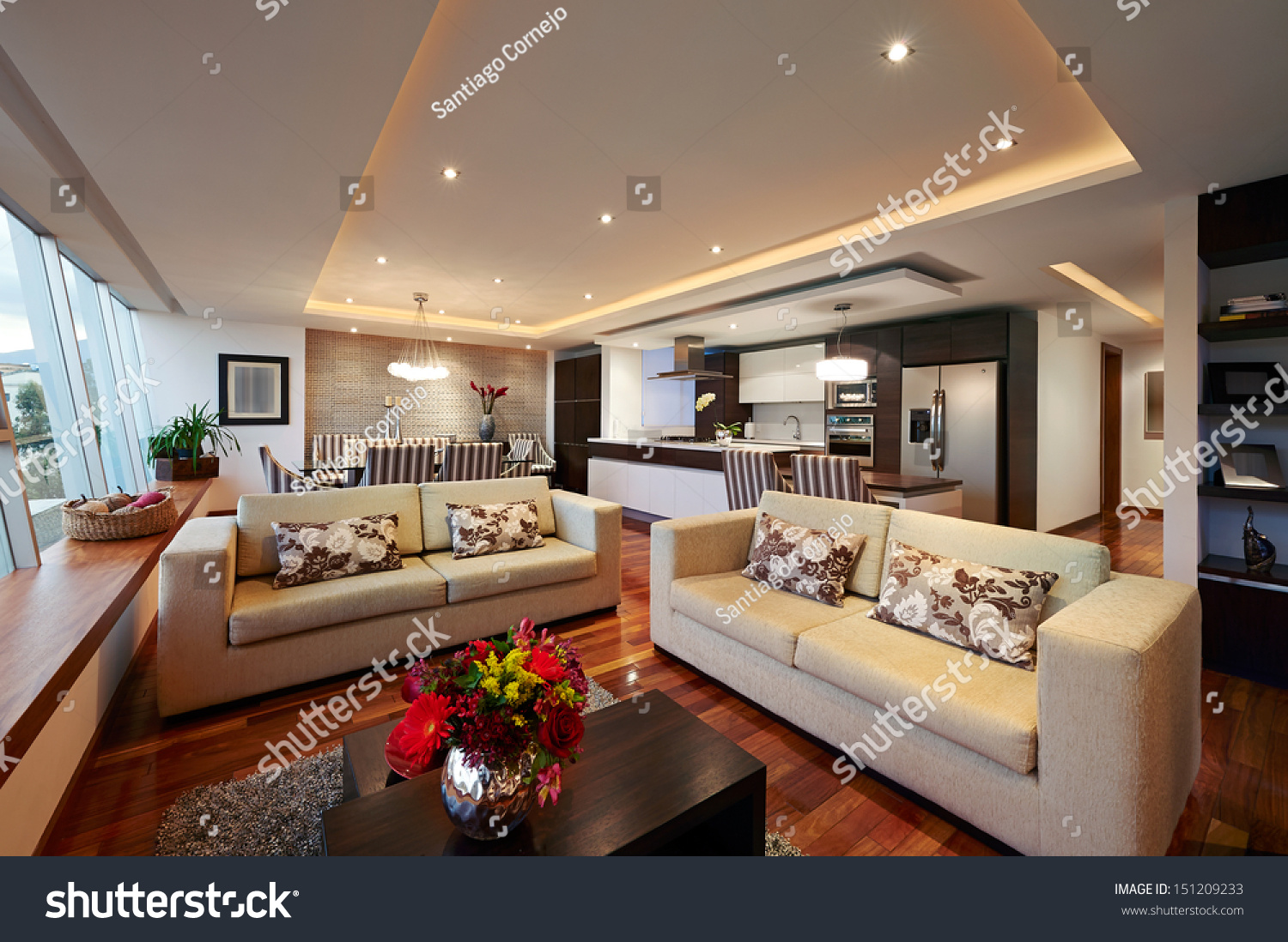 Interior Design: Big Modern Living Room Stock Photo ...
