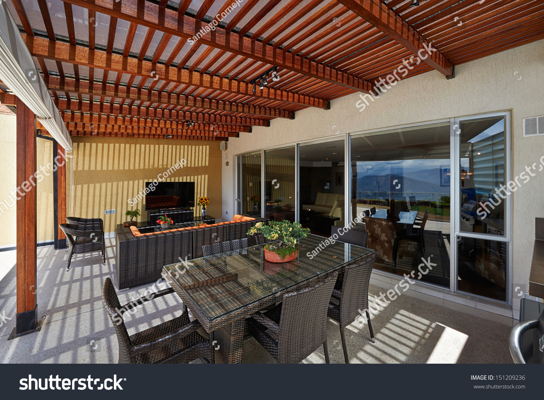 Interior Design Beautiful Modern Terrace Lounge Stock