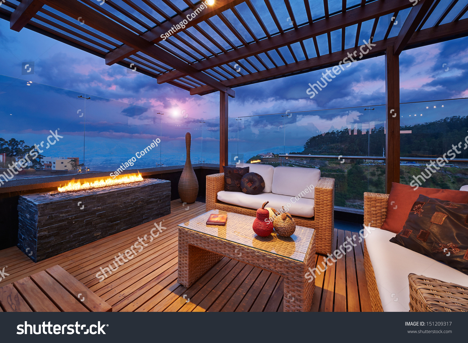 interior design beautiful modern terrace lounge stock photo 151209317 shutterstock. Black Bedroom Furniture Sets. Home Design Ideas