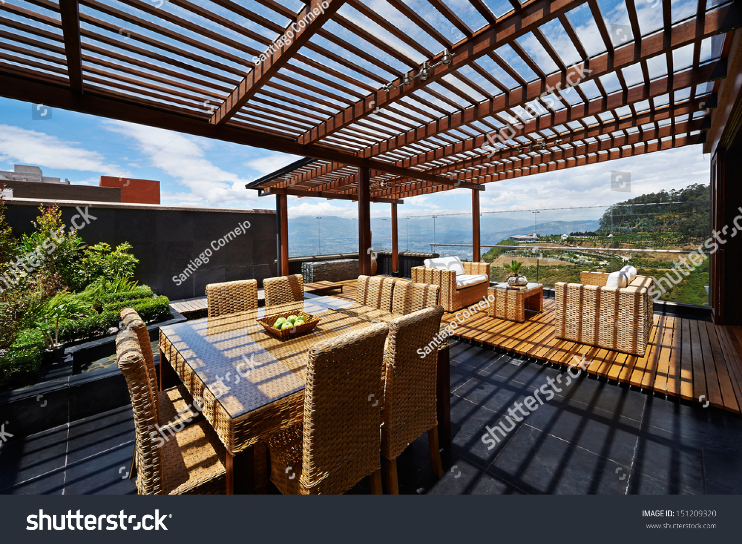 Interior design beautiful terrace lounge pergola stock for Terrace lounge