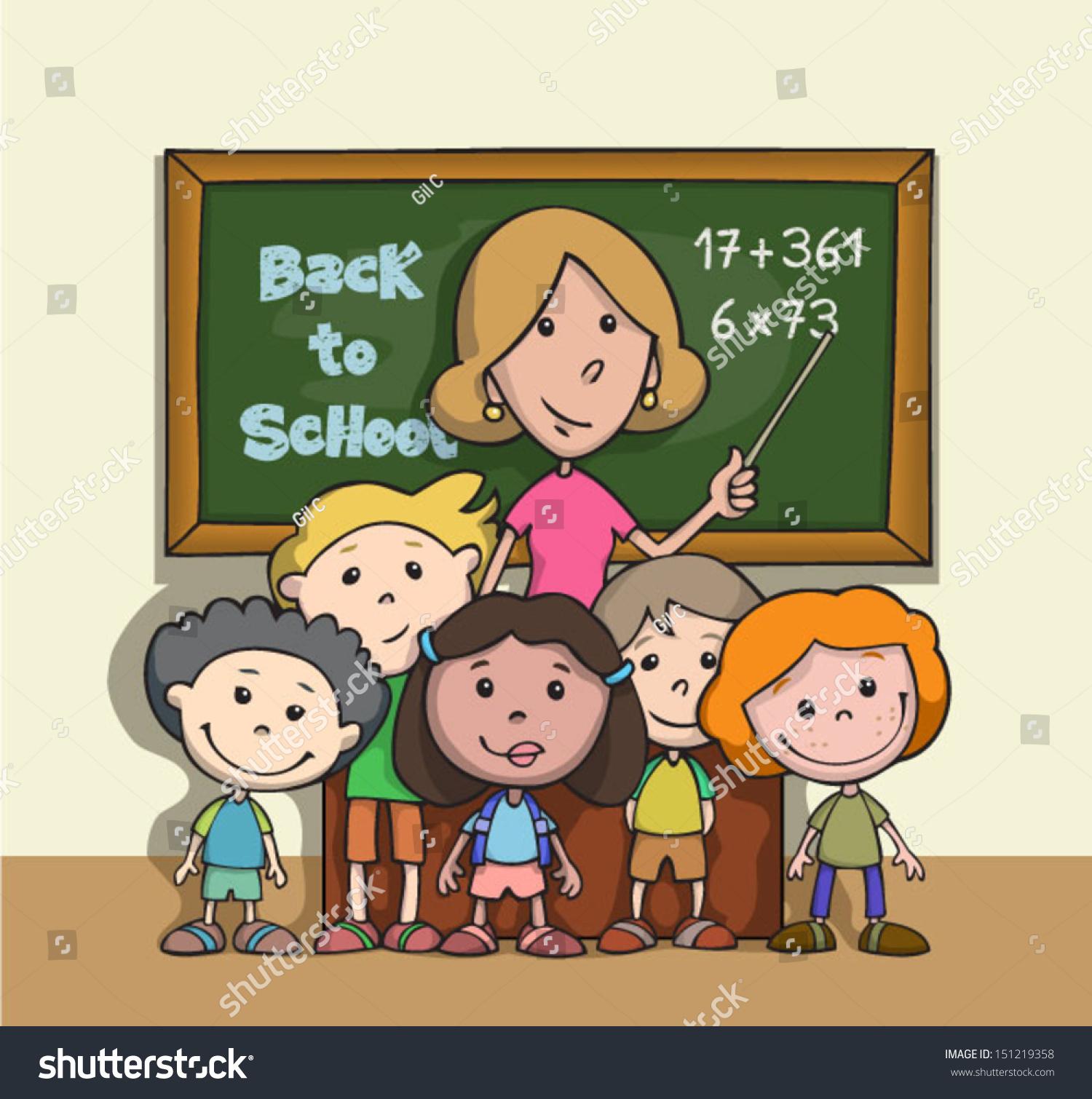 Back School Happy Children School Classroom Stock Vector ...
