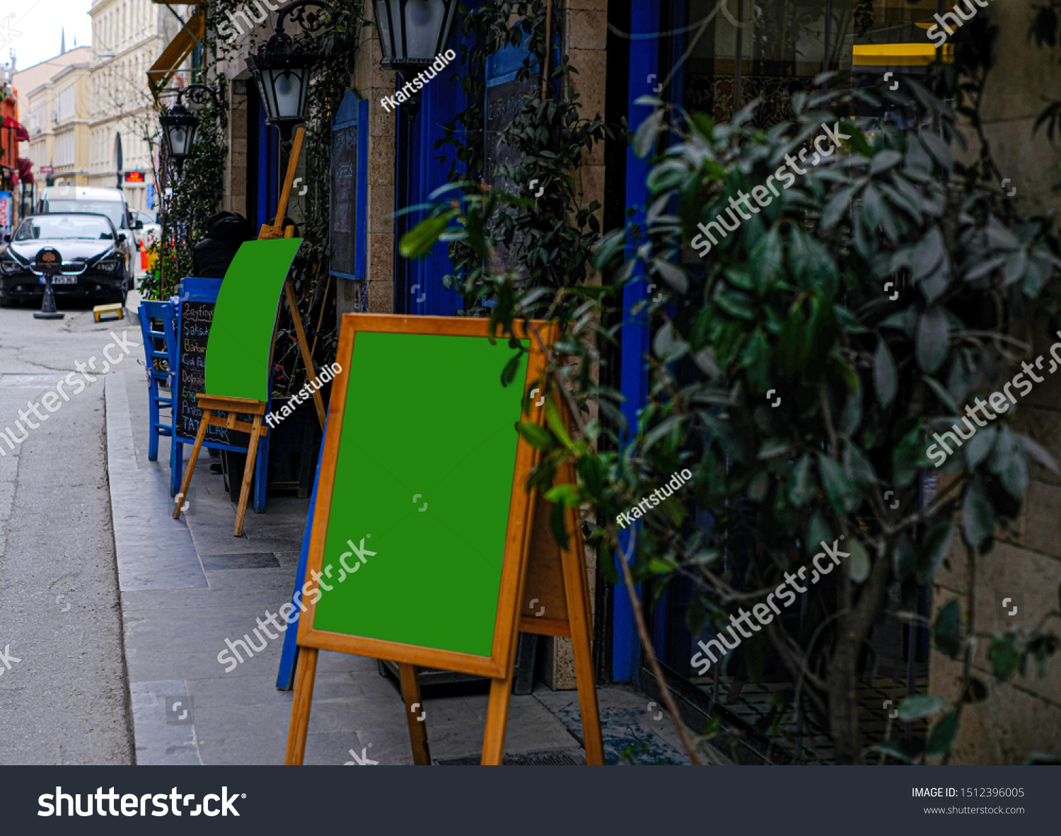 Mockup Restaurant Exterior Signsgreen Signs Stock Photo Edit Now 1512396005