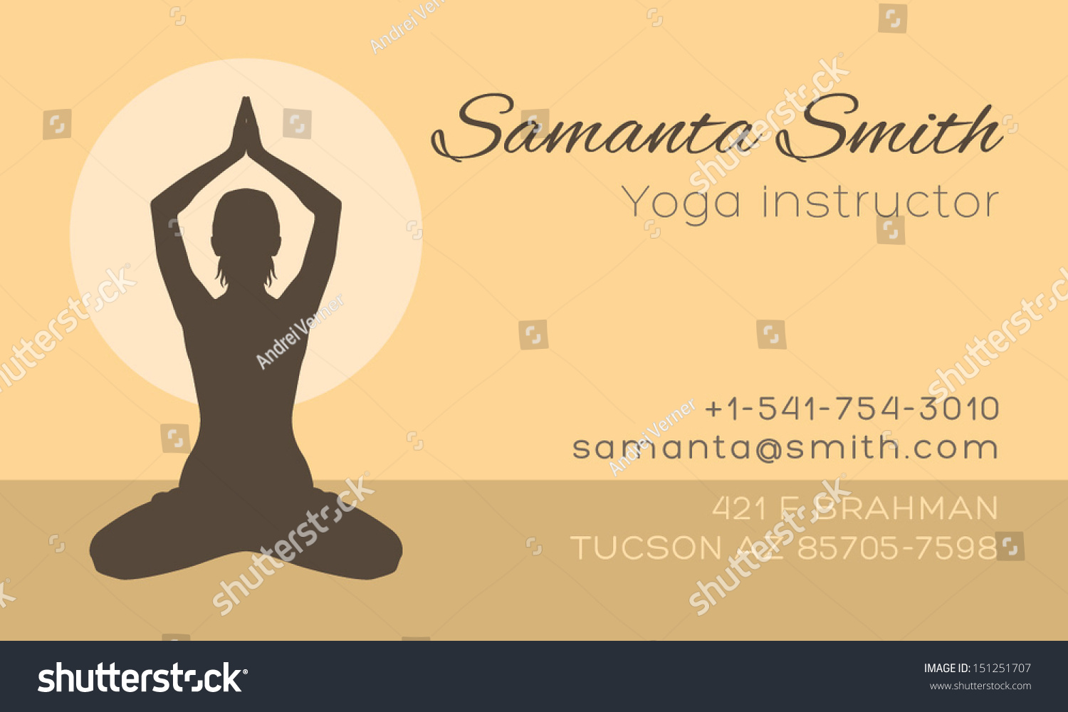 Yoga Instructor Business Card Vector Template Stock Vector ...