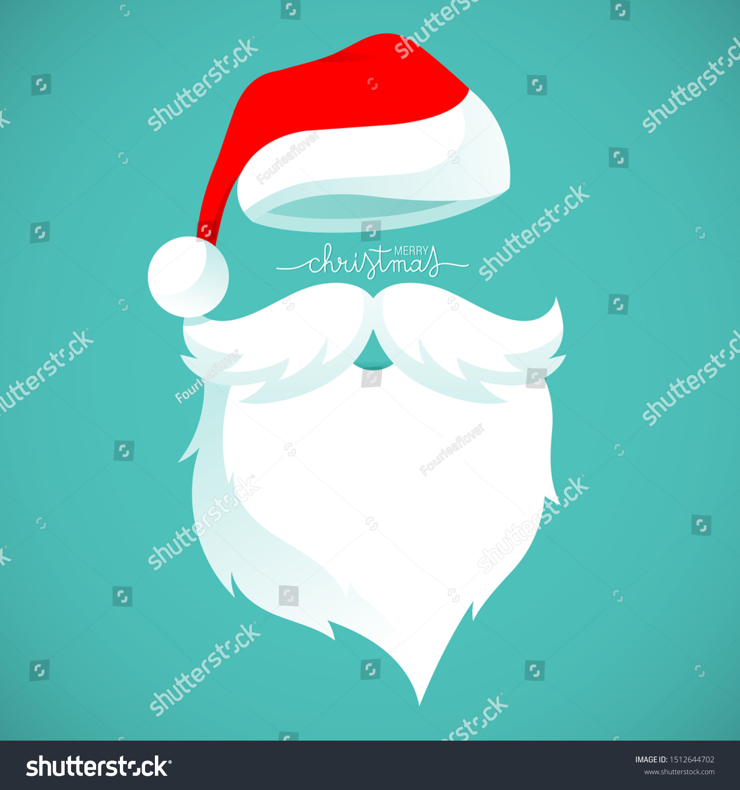 Santa Claus Hat Beard Template Stock Vector Royalty Free 1512644702