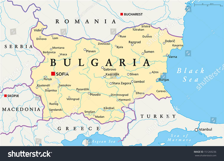 Bulgaria Political Map Political Map Bulgaria Stock Vector - Map of bulgaria
