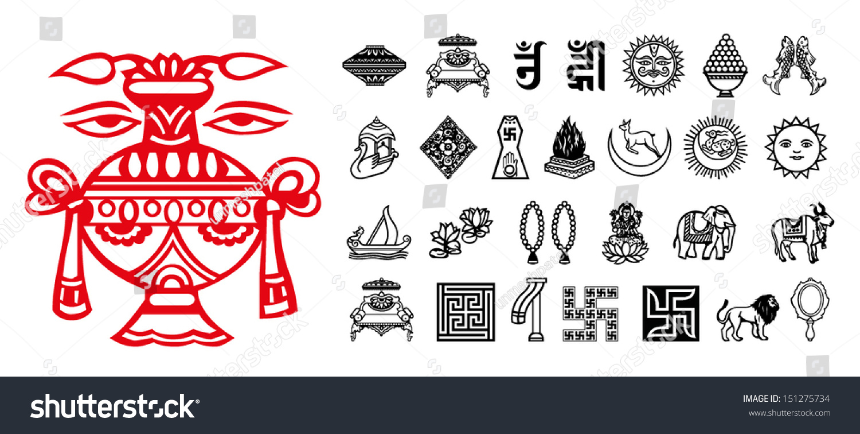 Jain Religious Symbols Stock Vector 151275734 Shutterstock