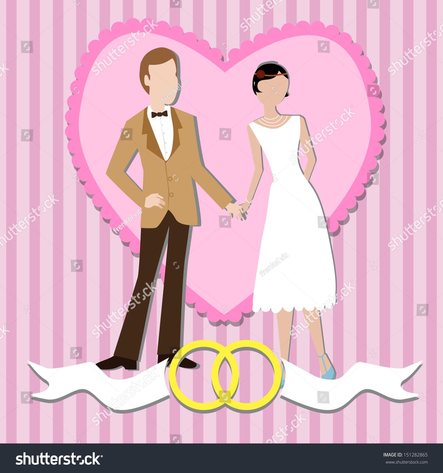 Wedding Invitation Wedding Couple Cute Cartoon Stock Vector ...