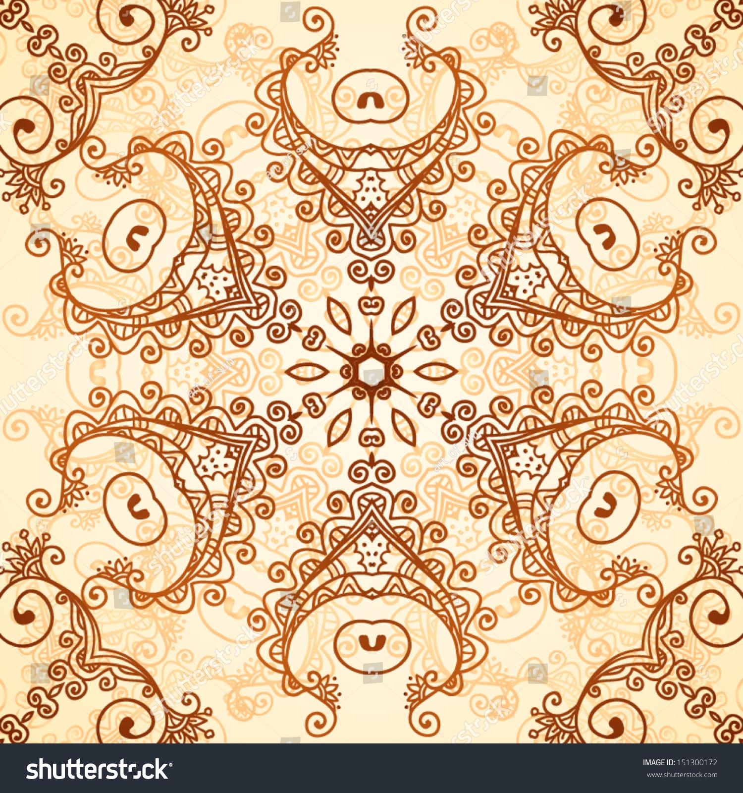 Ornate vintage vector background in mehndi style royalty free stock - Ornate Vintage Circle Background In Mehndi Style