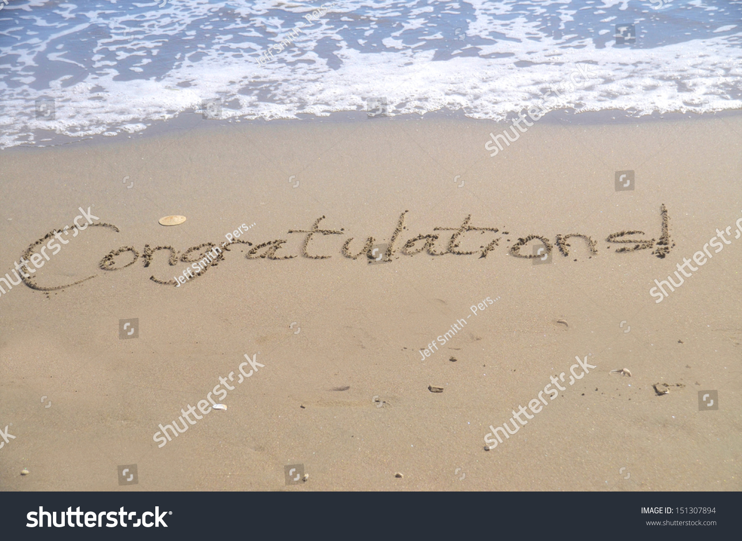 Congratulations A Message Written In The Sand At The Written In Your The