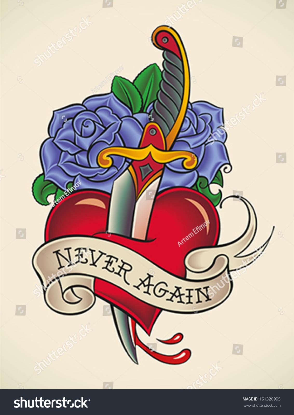 Old school tattoo dagger through heart stock photos image - Heart With Sword Through It Logo Www Imgkid Com The