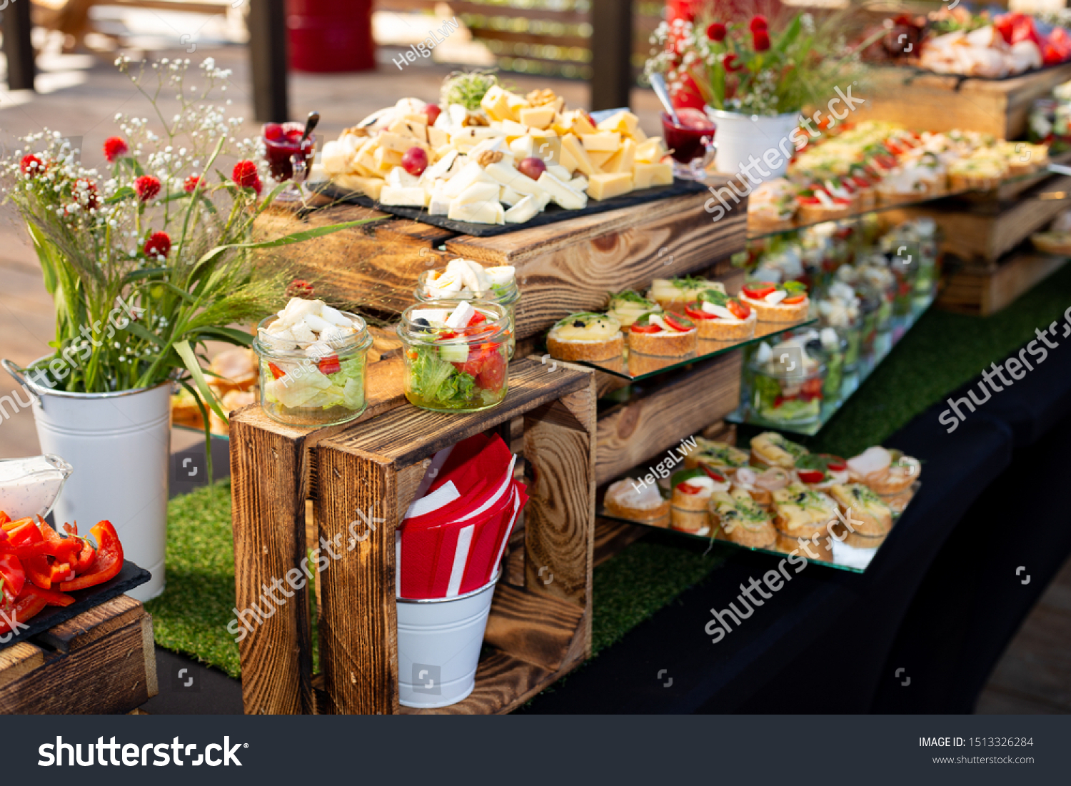Catering Buffet Rustic Decor Wedding Party Stock Photo Edit Now 1513326284