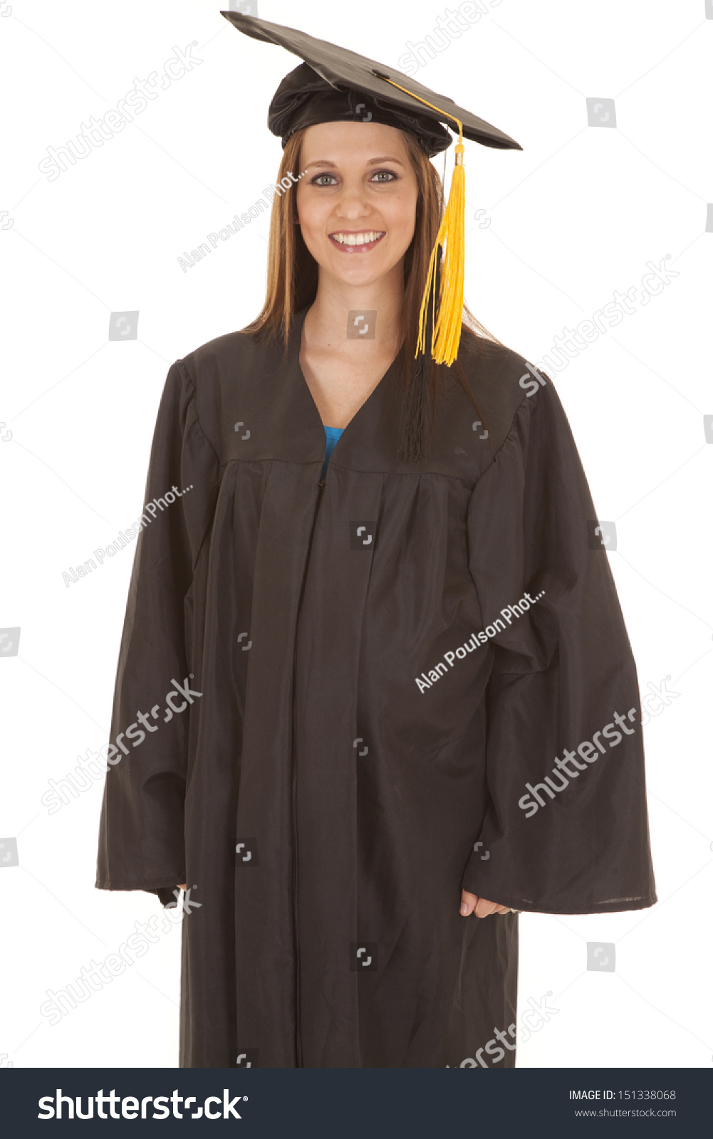 5eee1f88d9f Woman Standing Graduation Gown Smile Stock Photo (Edit Now ...