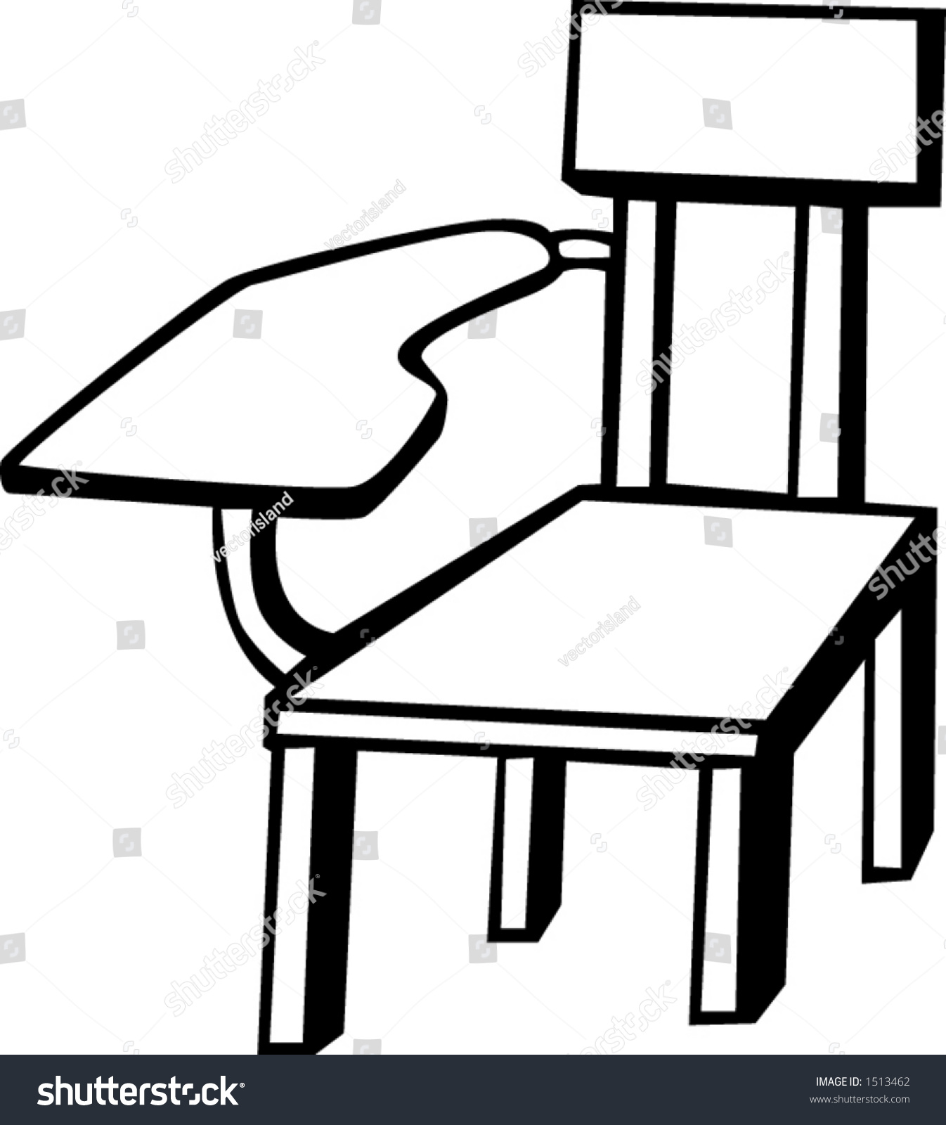 Wooden School Chair Black White Vector Stock Vector -  black and white chairs