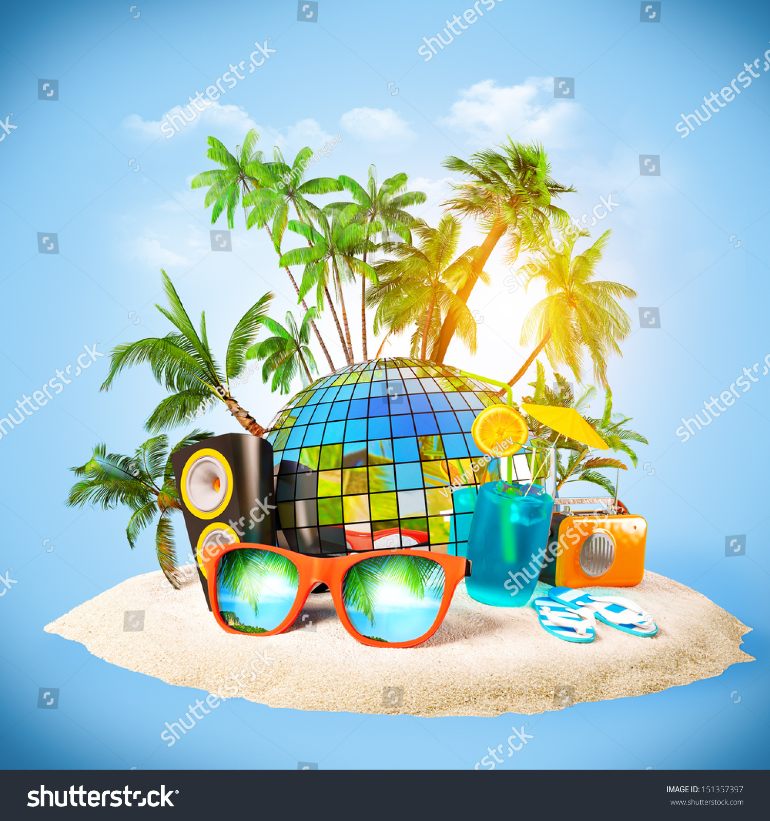 Tropical Island Party Beach Traveling Vacation Stock Photo