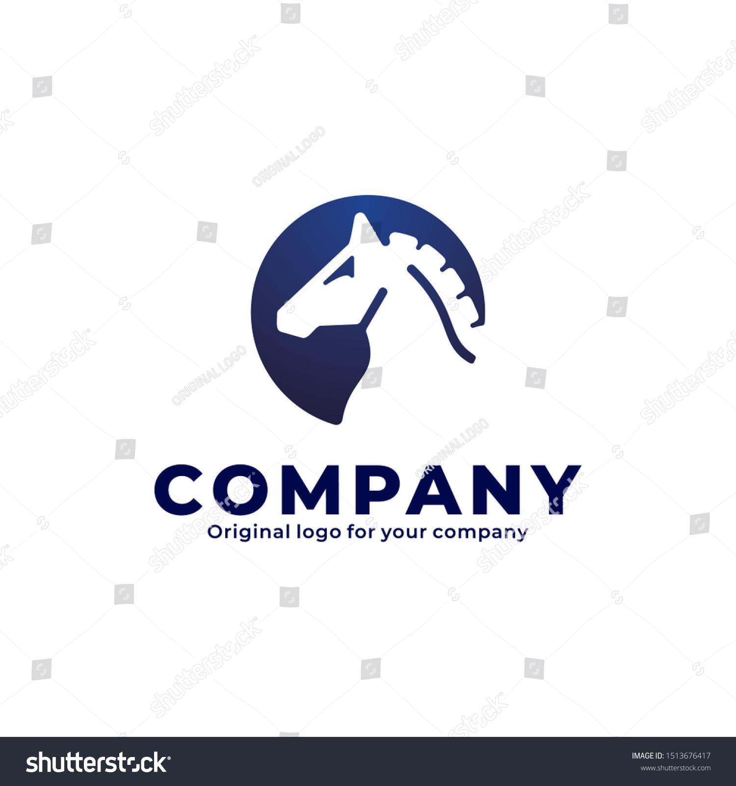 Vector De Stock Libre De Regalias Sobre Dark Blue Horse Logo Circle Shape1513676417