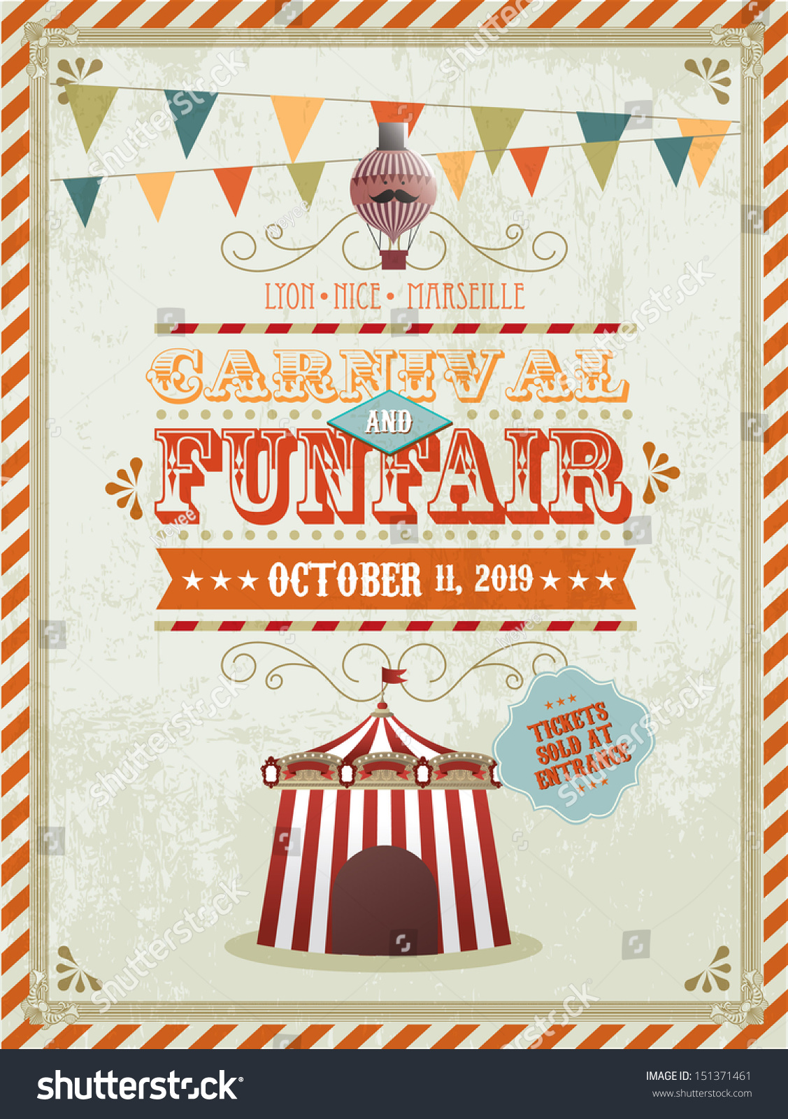 Vintage Fun Fair Carnival Poster Template Stock Vector Royalty Free