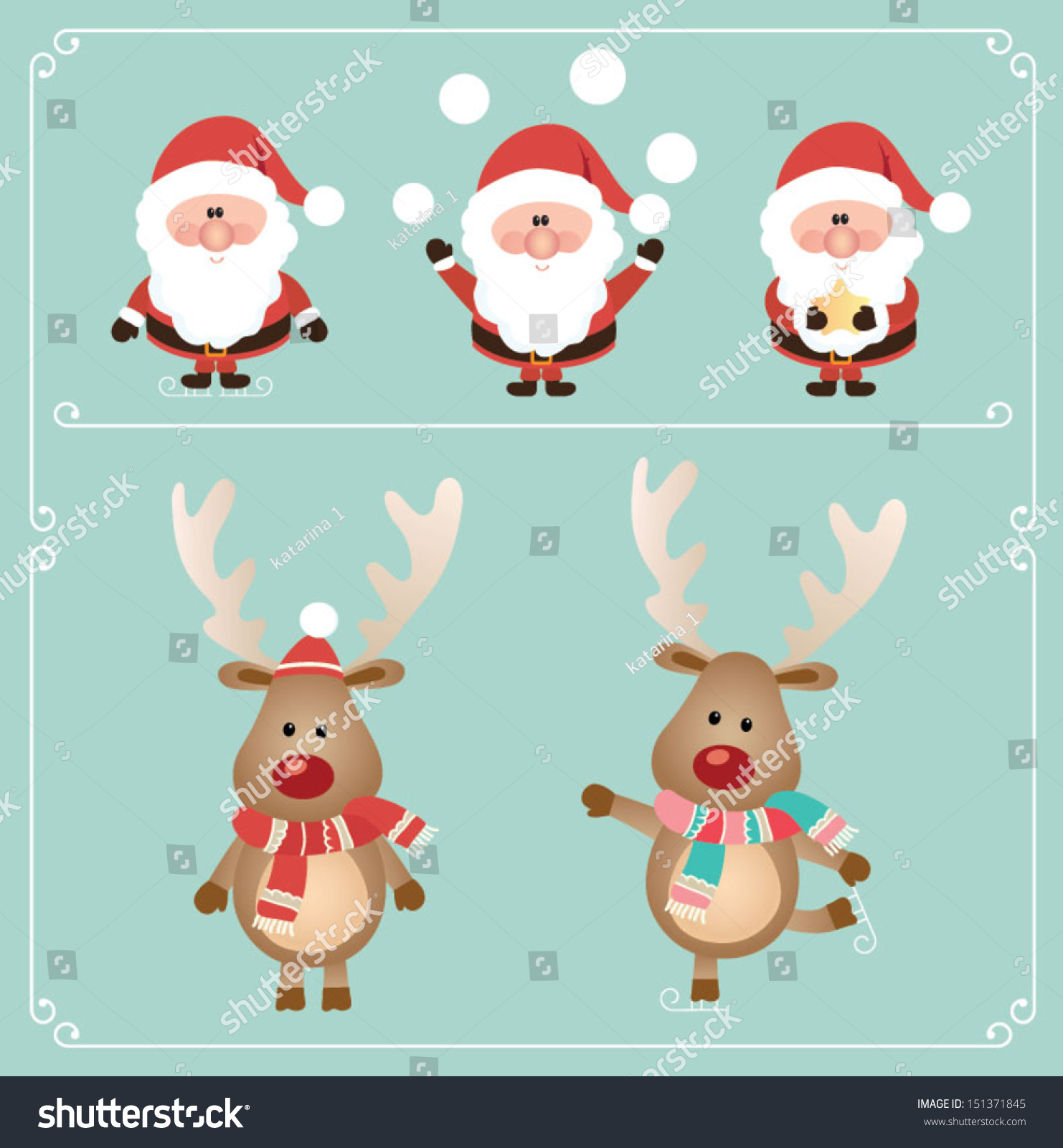 Set Of Cute Santa Claus And Rudolph Reindeer. Vector ...
