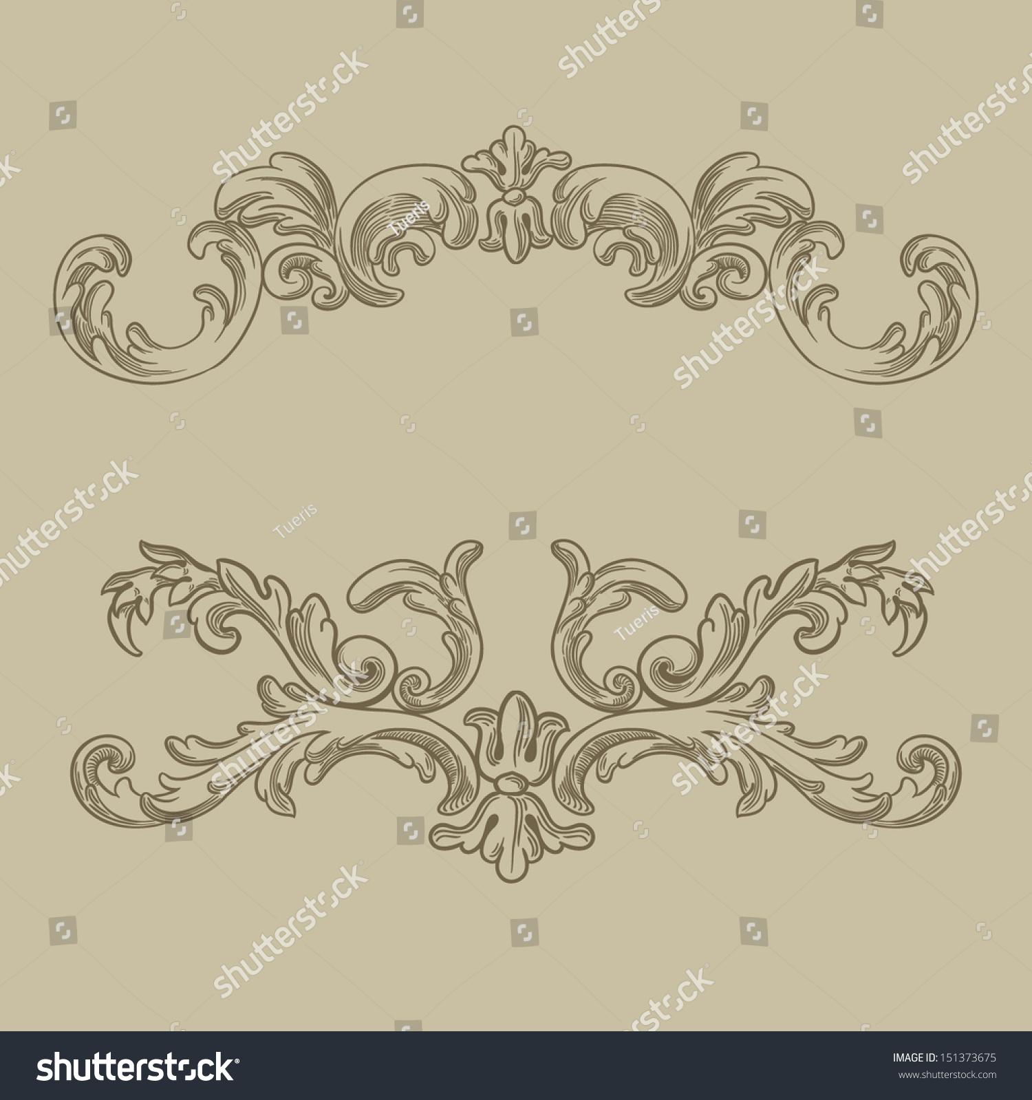 Antique Scroll Vector: Vector Vintage Baroque Engraving Floral Scroll Stock