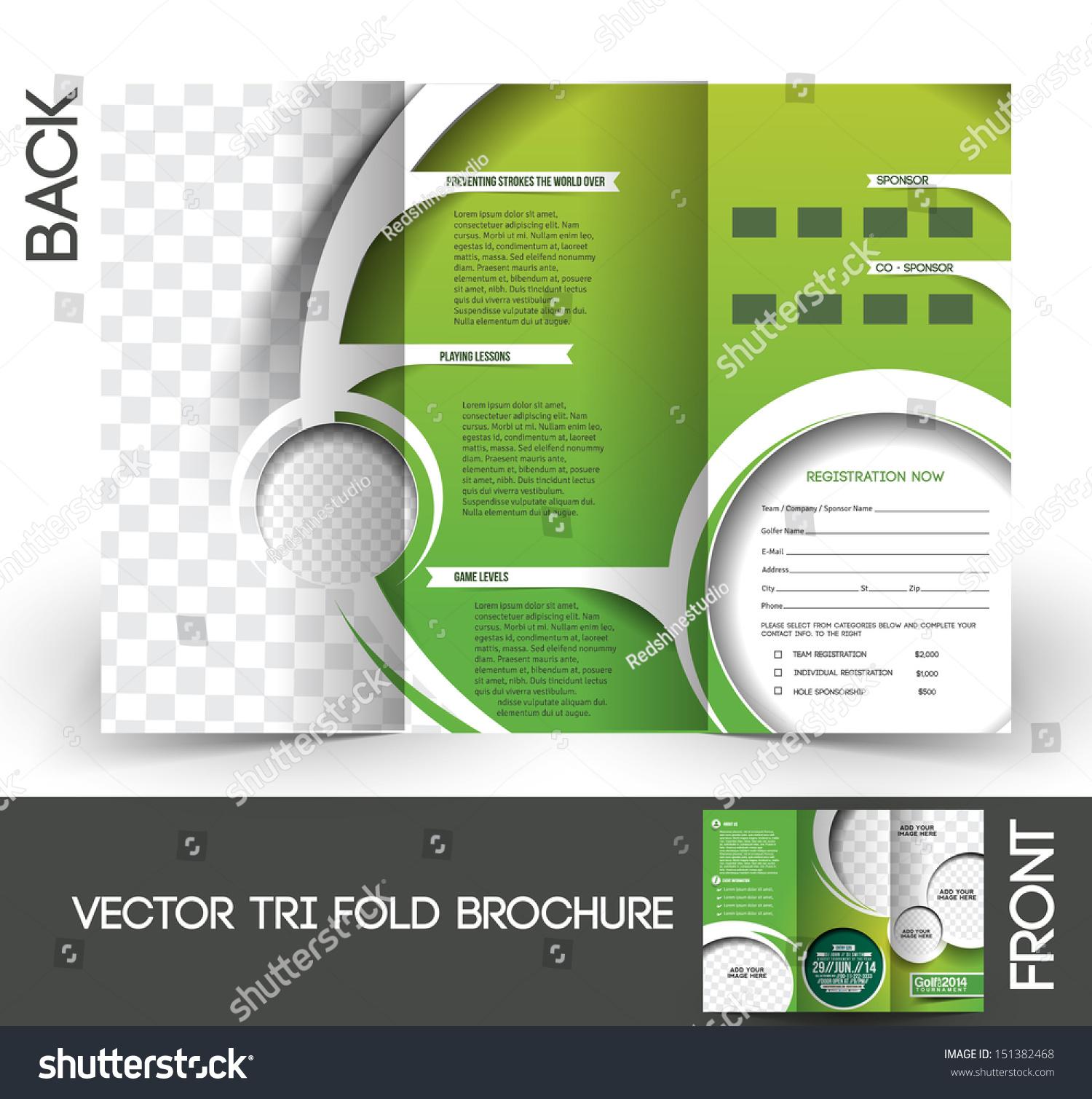 Trifold golf tournament mock brochure design stock vector for Golf tournament brochure template