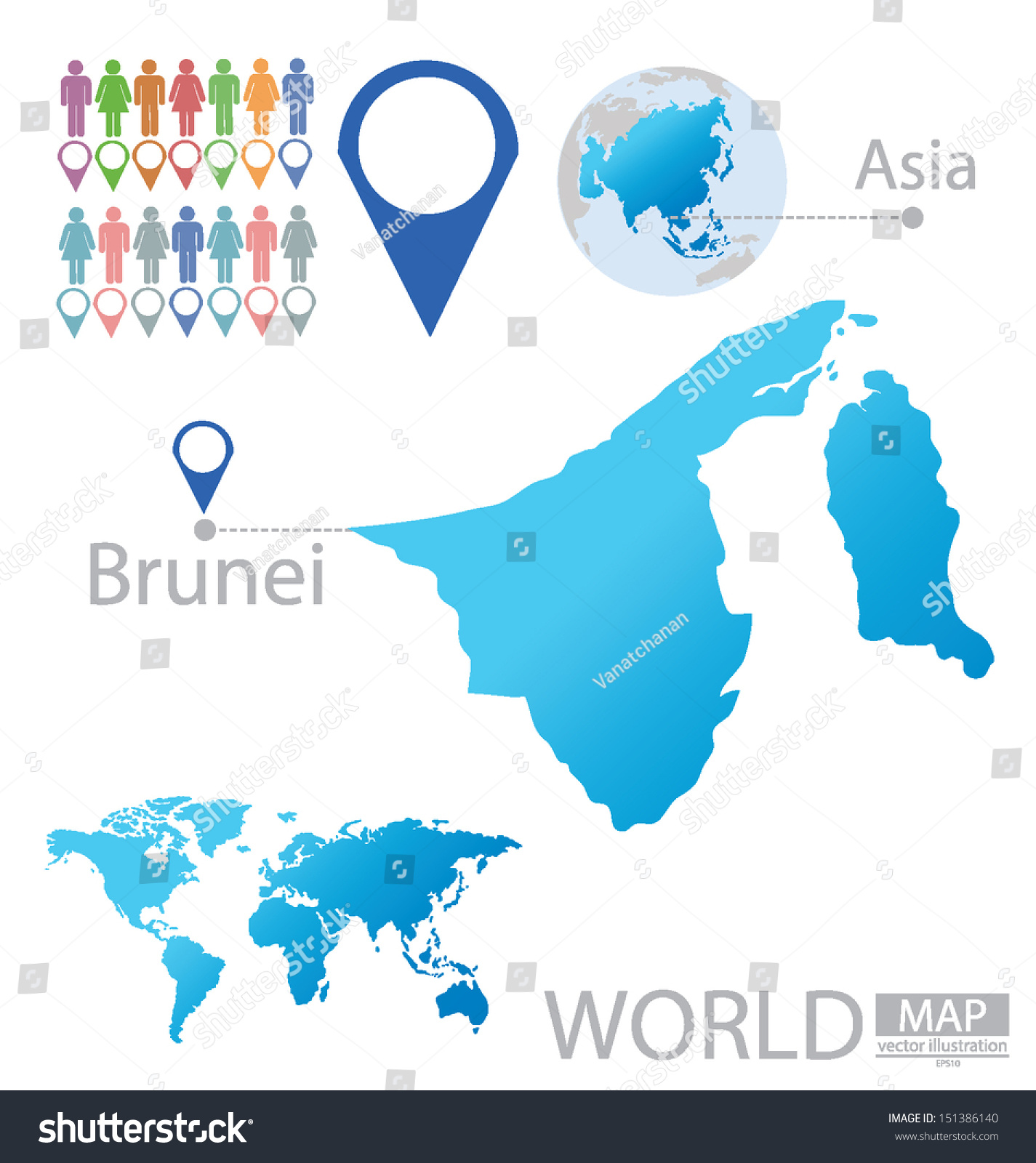 Brunei Asia World Map Vector Illustration Stock Vector Royalty Free