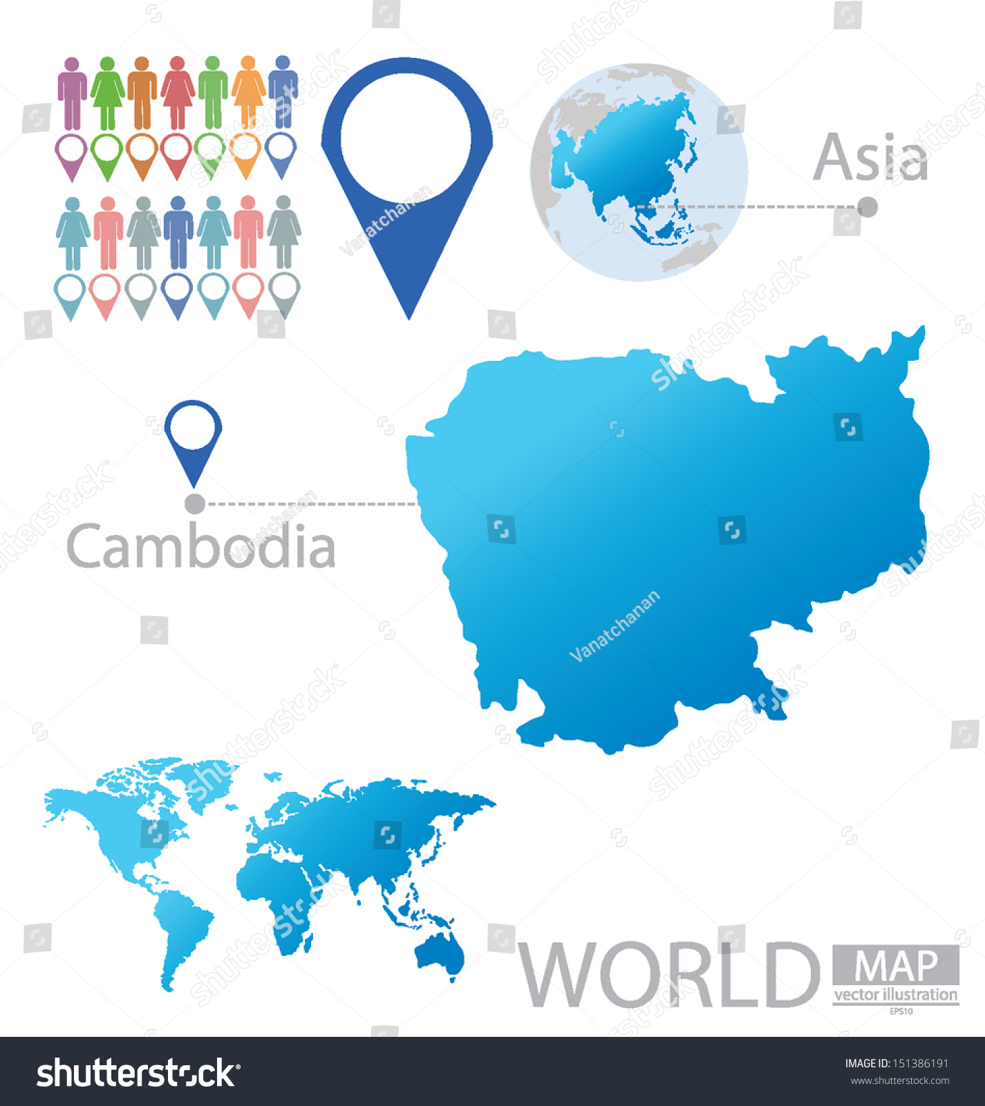 Cambodia Asia World Map Vector Illustration Stock Vector (Royalty ...