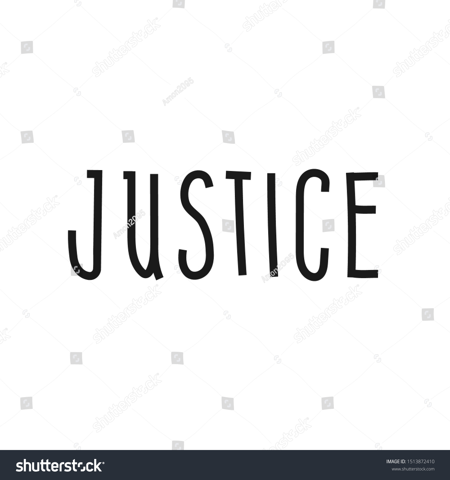 word form justice Lettering Word Justice Hand Drawn Calligraphic Stock Vector