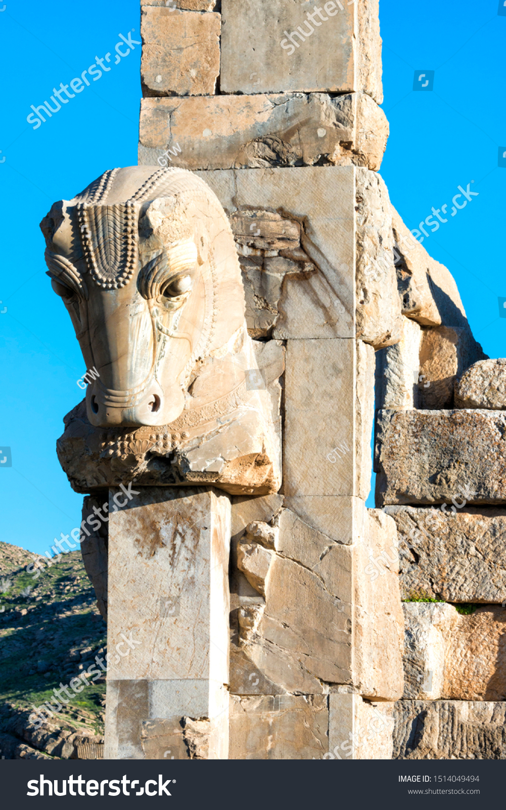Persepolis Horse Sculpture On Capital Fars Royalty Free Stock Image