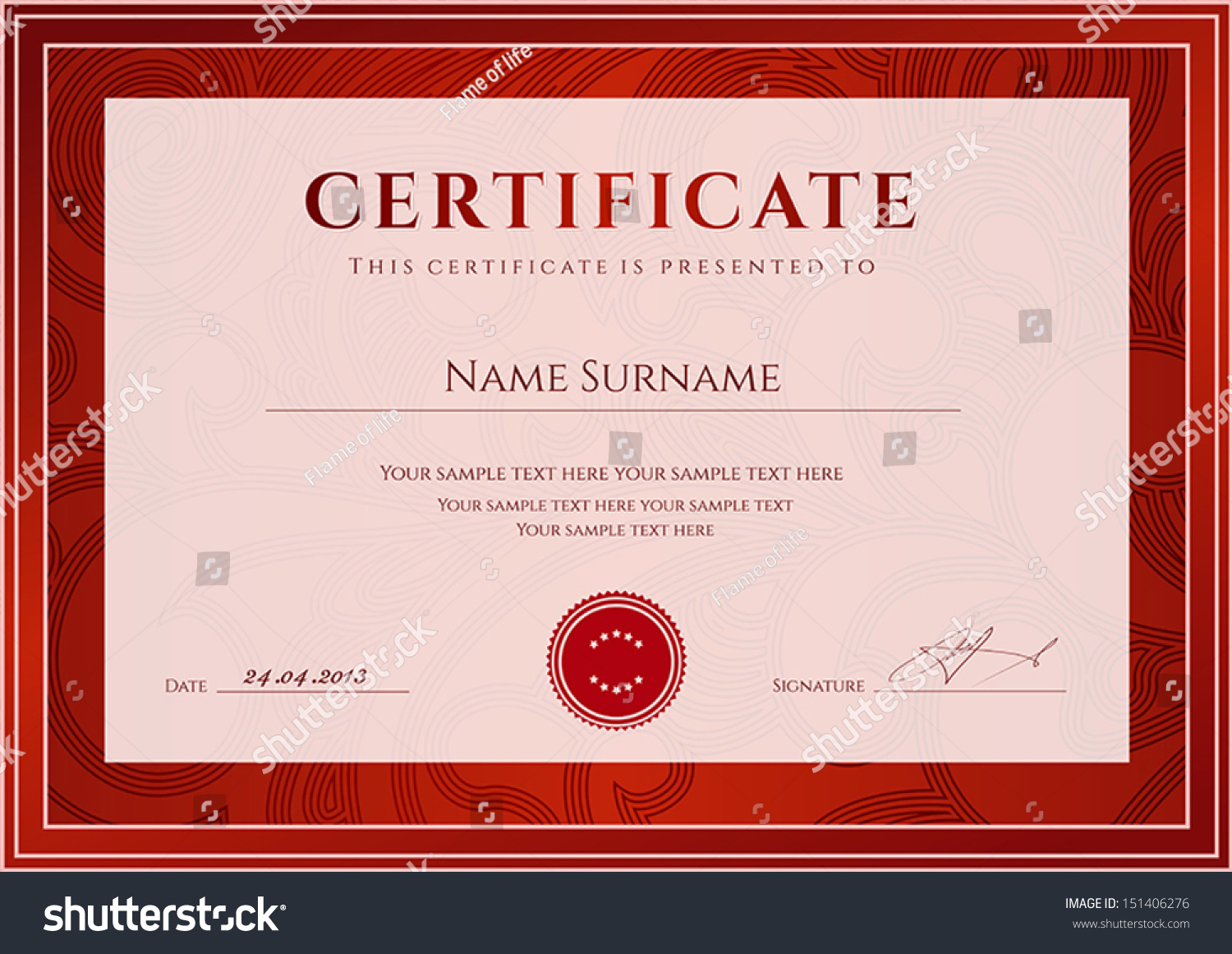 Certificate Diploma Completion Design Template Background Stock
