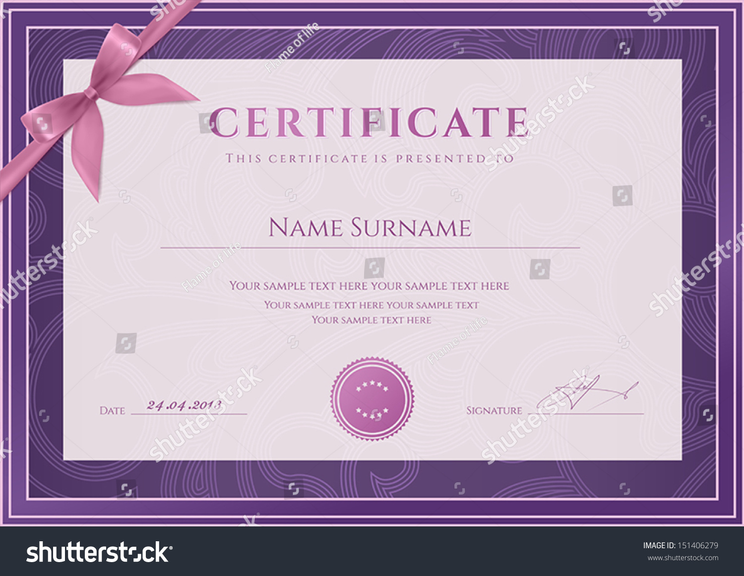 Certificate Diploma Completion Template Background Floral ...