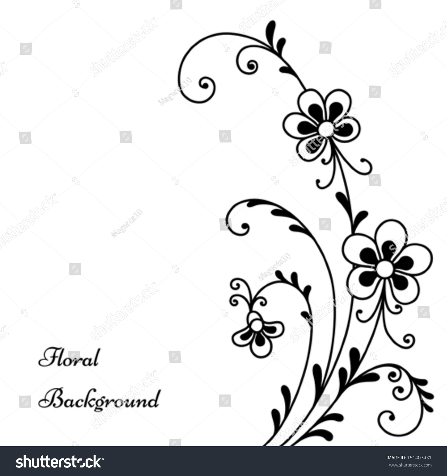 Abstract Flowers Black White Floral Background Stock Vector