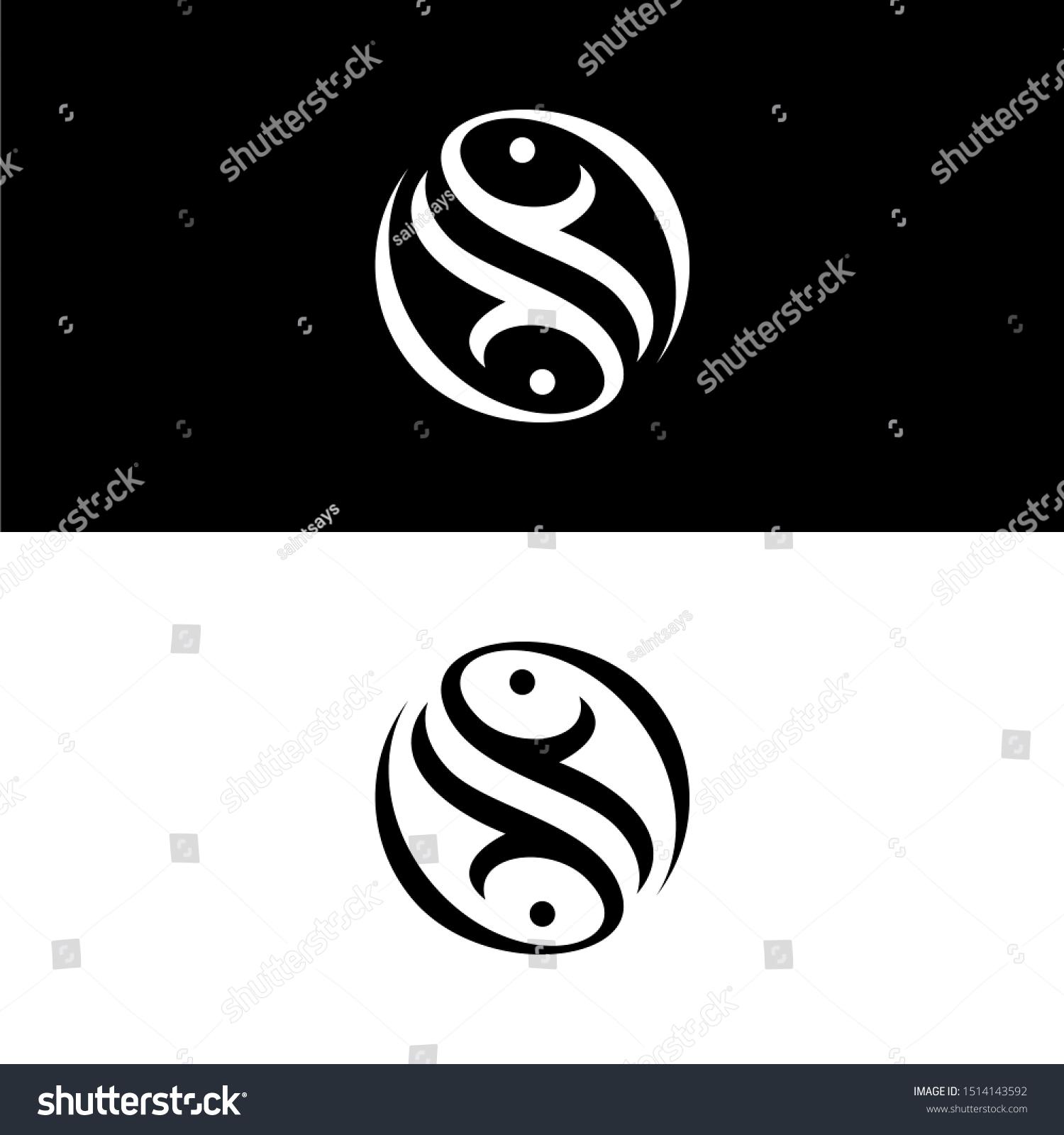 Twin Double Fish Logo Template Yin Stock Vector Royalty Free 1514143592