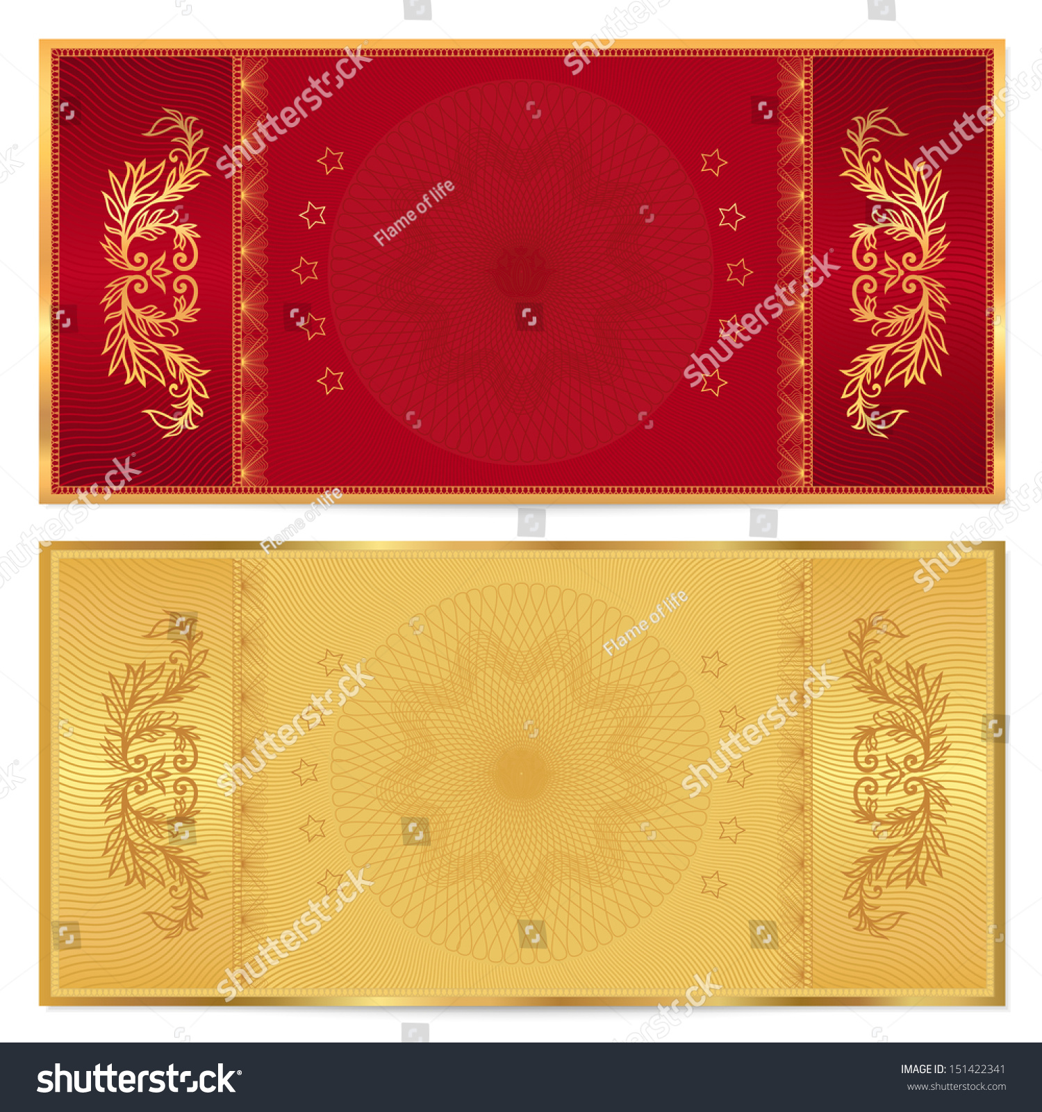 Gold ticket voucher gift certificate coupon stock illustration gold ticket voucher gift certificate coupon template with floral border background design yadclub Choice Image