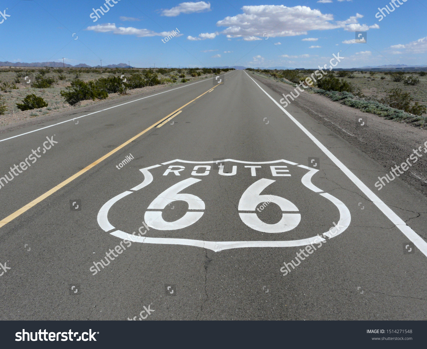 Route 66 road sign in Mojave Desert, California #1514271548