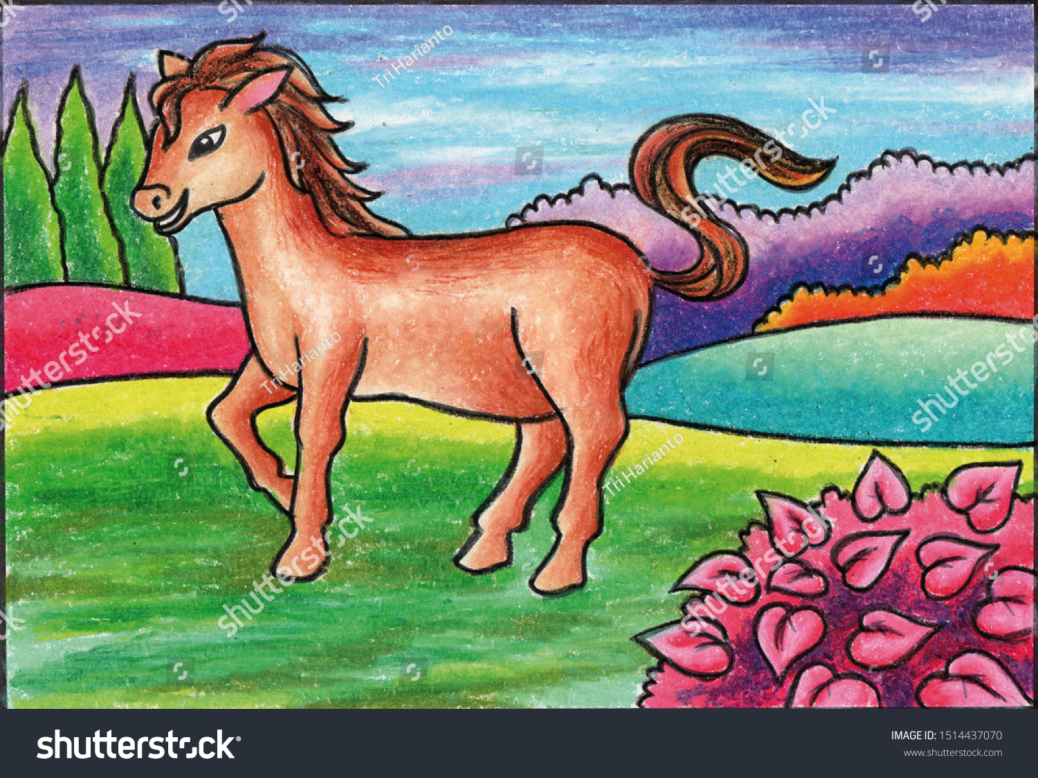 Painting Horse Using Oil Pastels Stock Illustration 1514437070