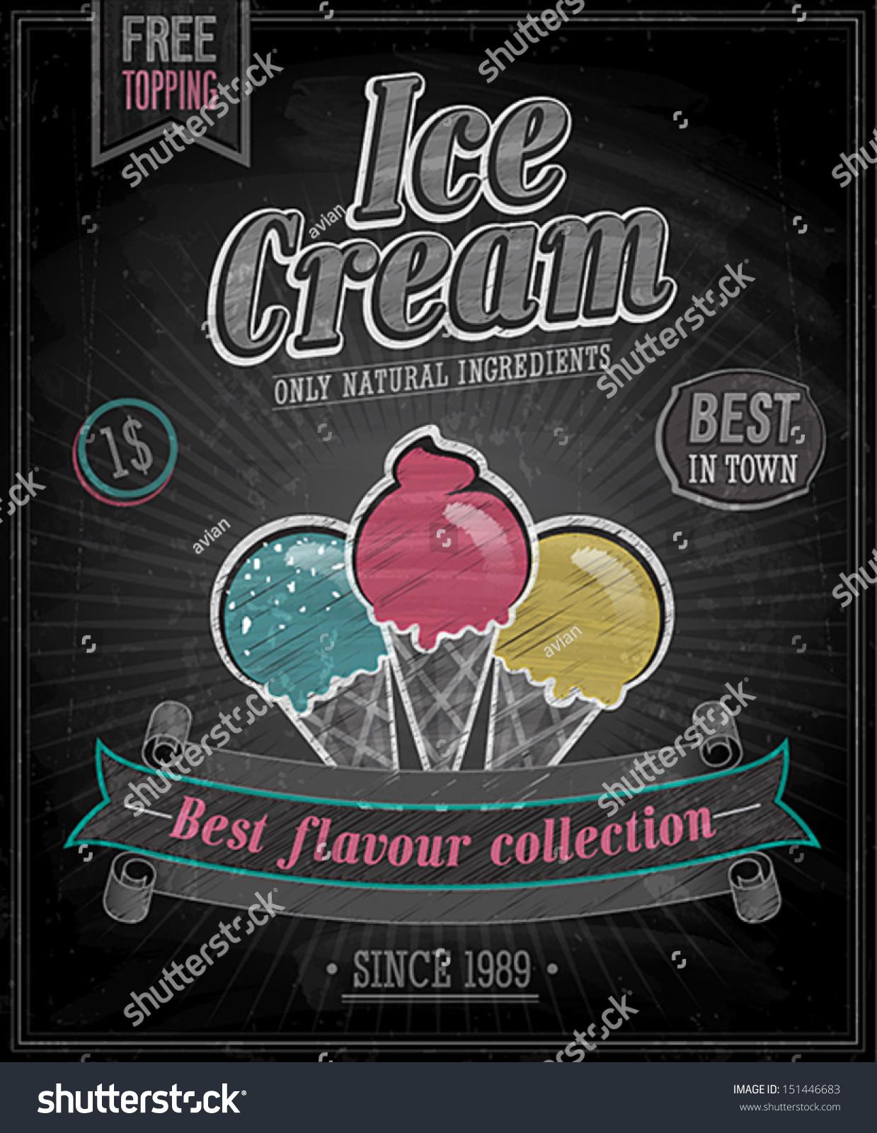 Vintage Ice Cream Poster Chalkboard Vector Stock Vector