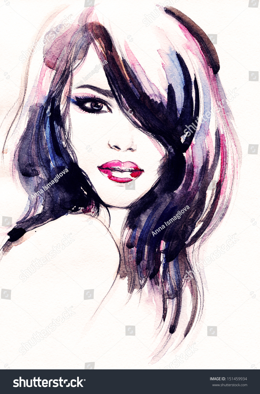 Beautiful Woman Face. Watercolor Illustration - 151459934 ...