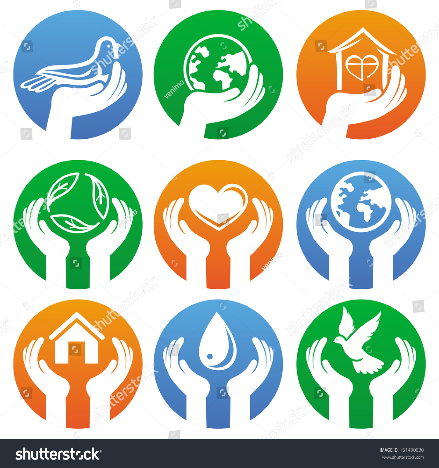 Vector Charity Sign Hands Different Symbols Stock Vector Royalty