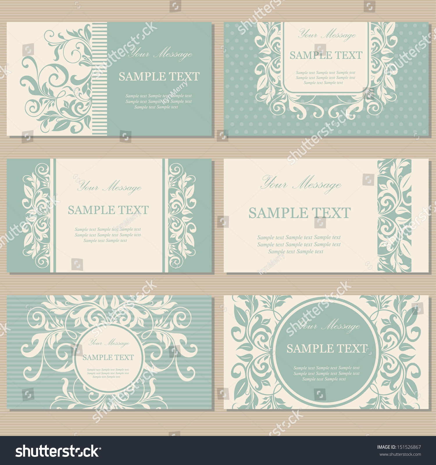 Set Six Floral Vintage Business Cards Stock Vector