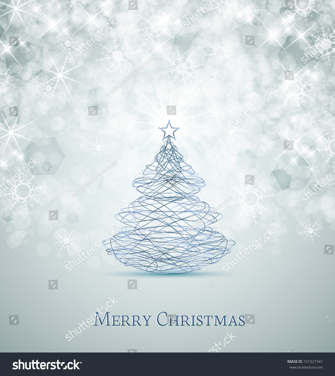 Merry Christmas Card Tree And Snowflakes