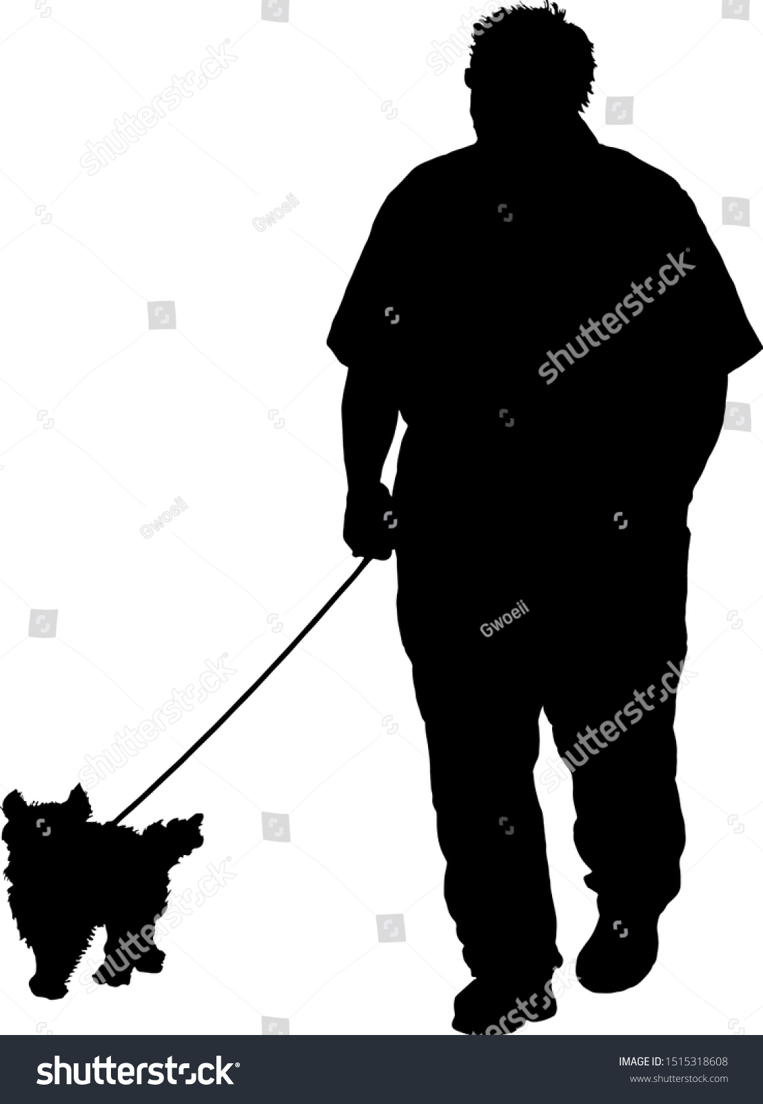 silhouette man taking his dog walk stock vector royalty free 1515318608 shutterstock