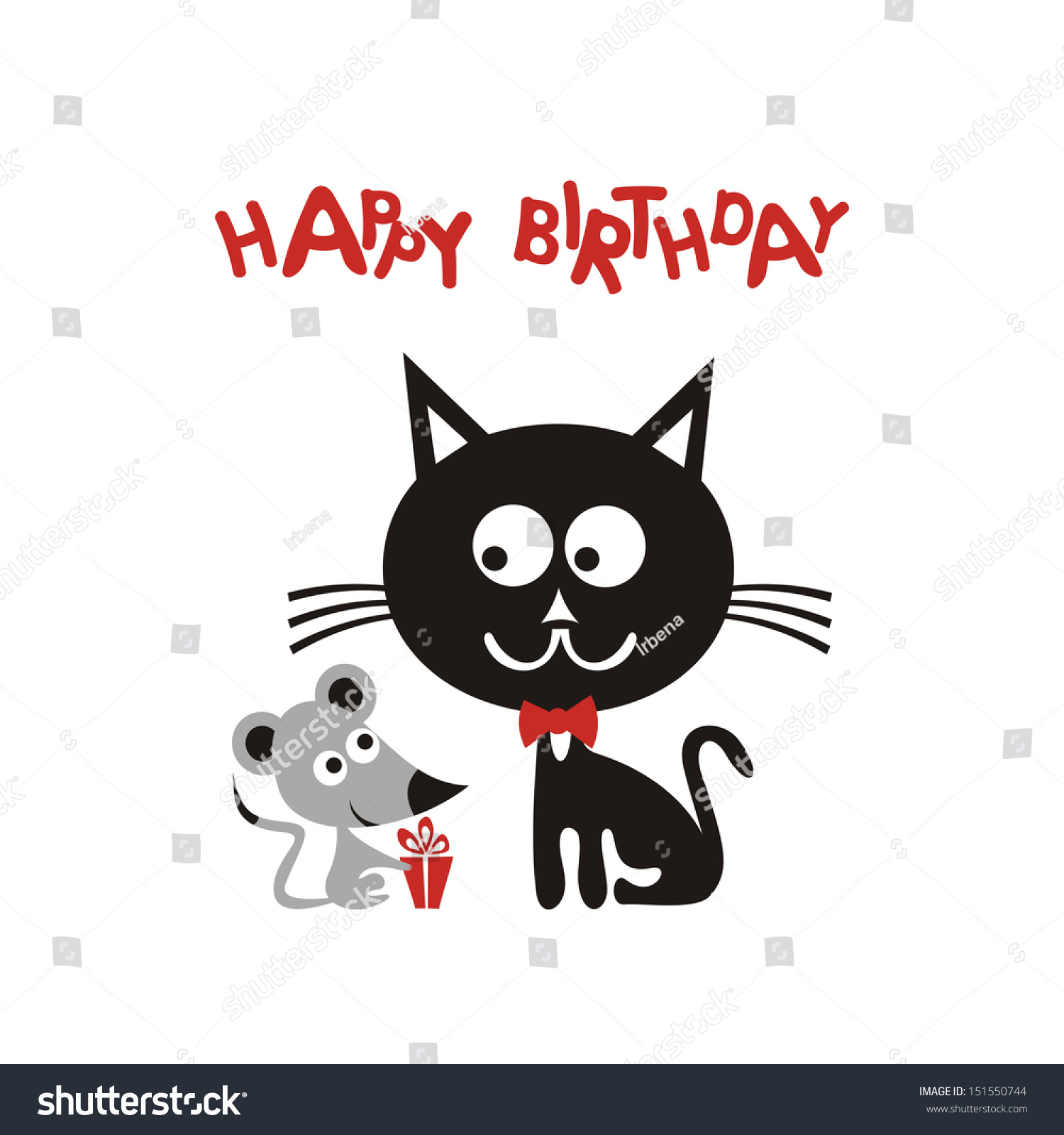 Happy Birthday Greeting Card With Cartoon Cute Mouse And