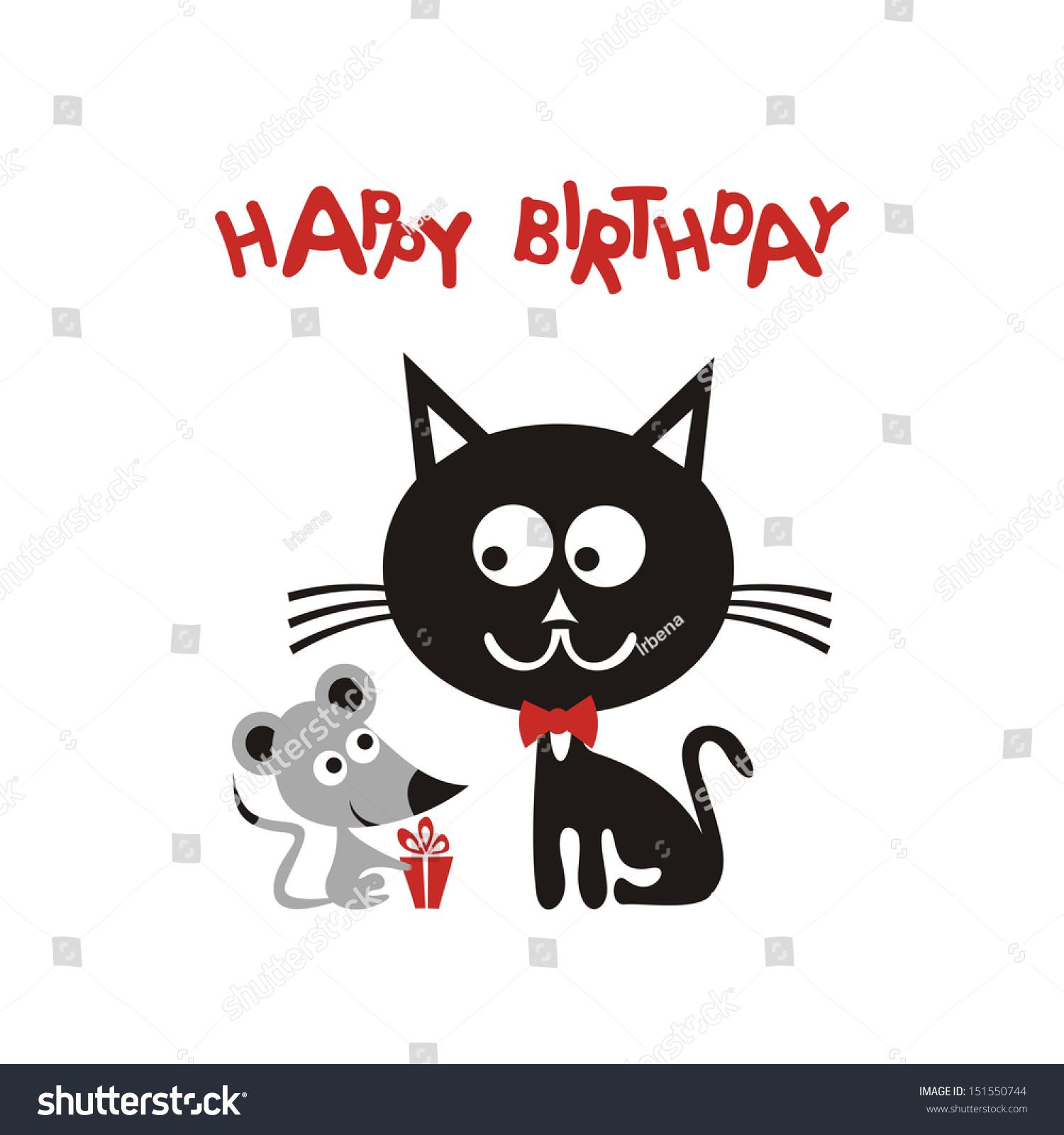 Happy Birthday Greeting Card Cartoon Cute Stock Illustration
