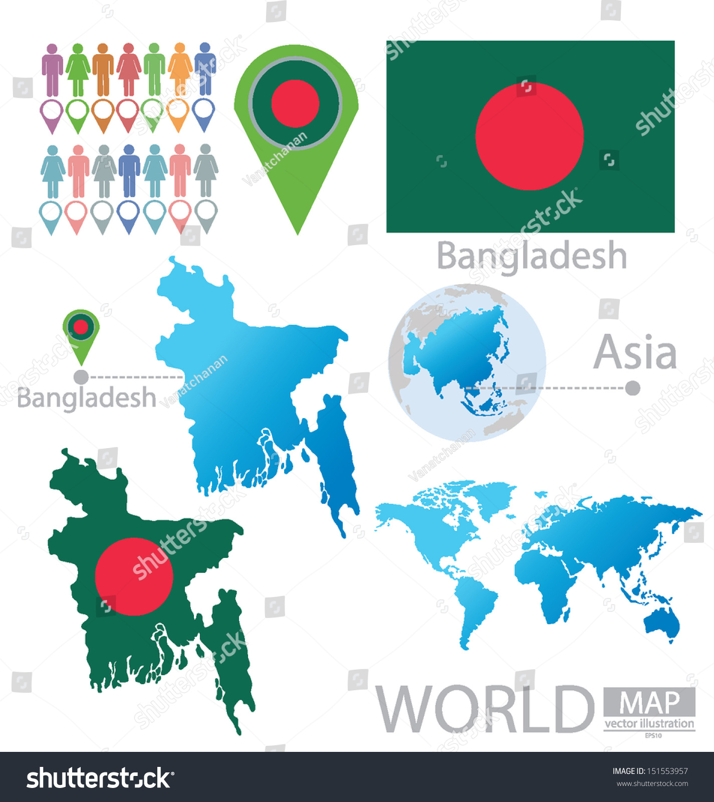 Bangladesh flag asia world map vector stock vector 151553957 asia world map vector illustration gumiabroncs Images