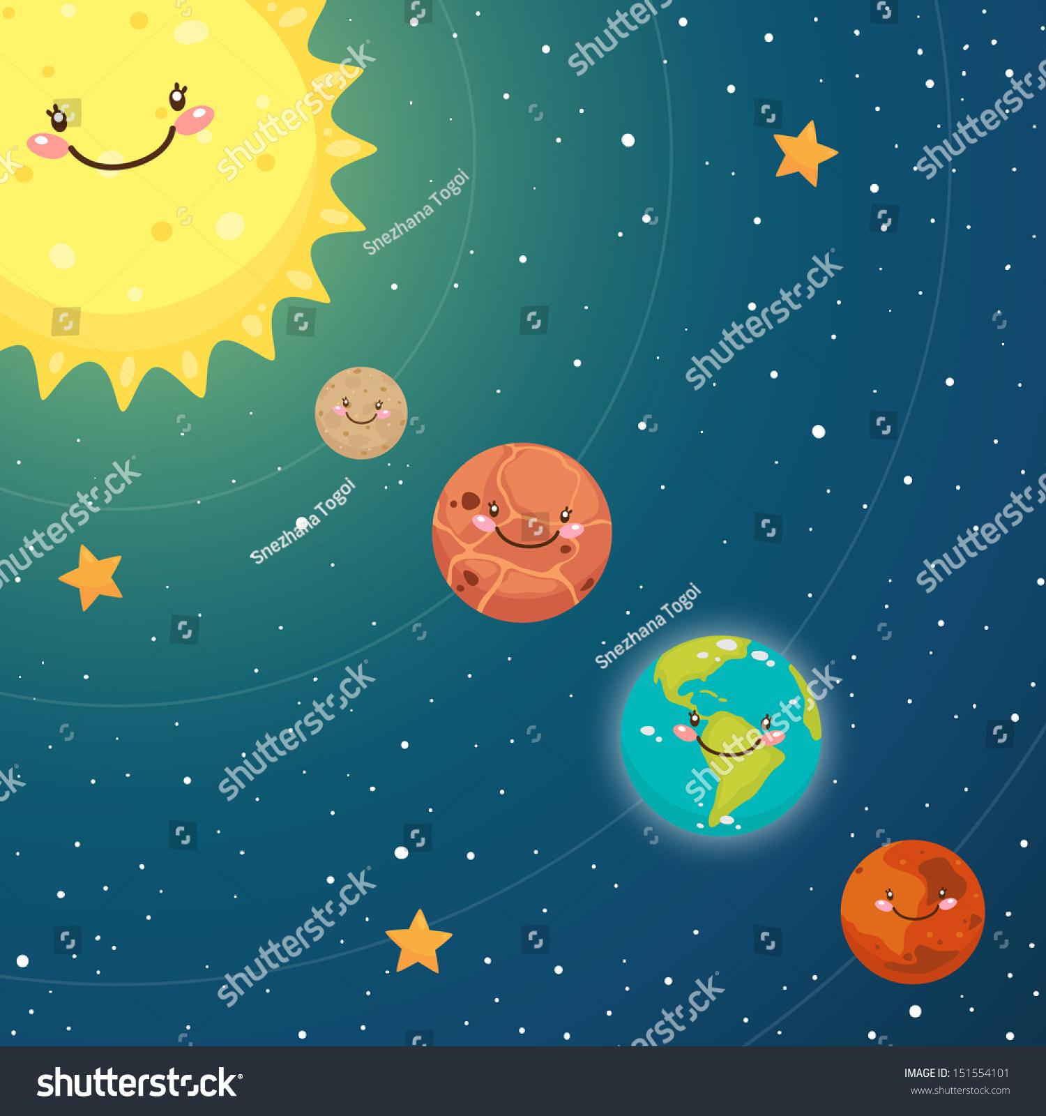 Cute Inner Planets Mercury Venus Earth Stock Vector ...