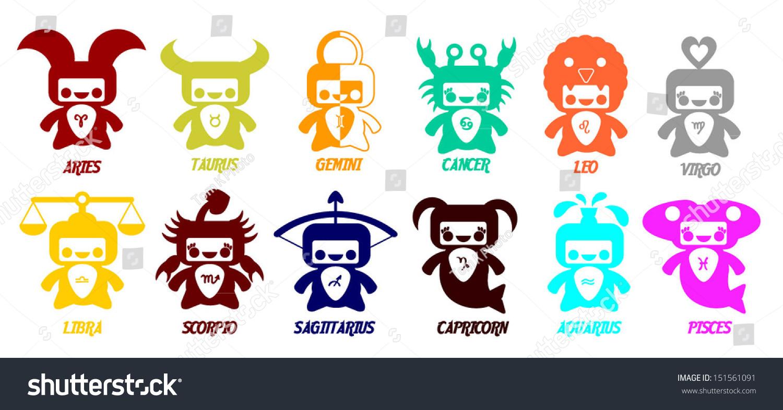 Set Astrological Zodiac Symbols Horoscope Signs Cute Stock Vector