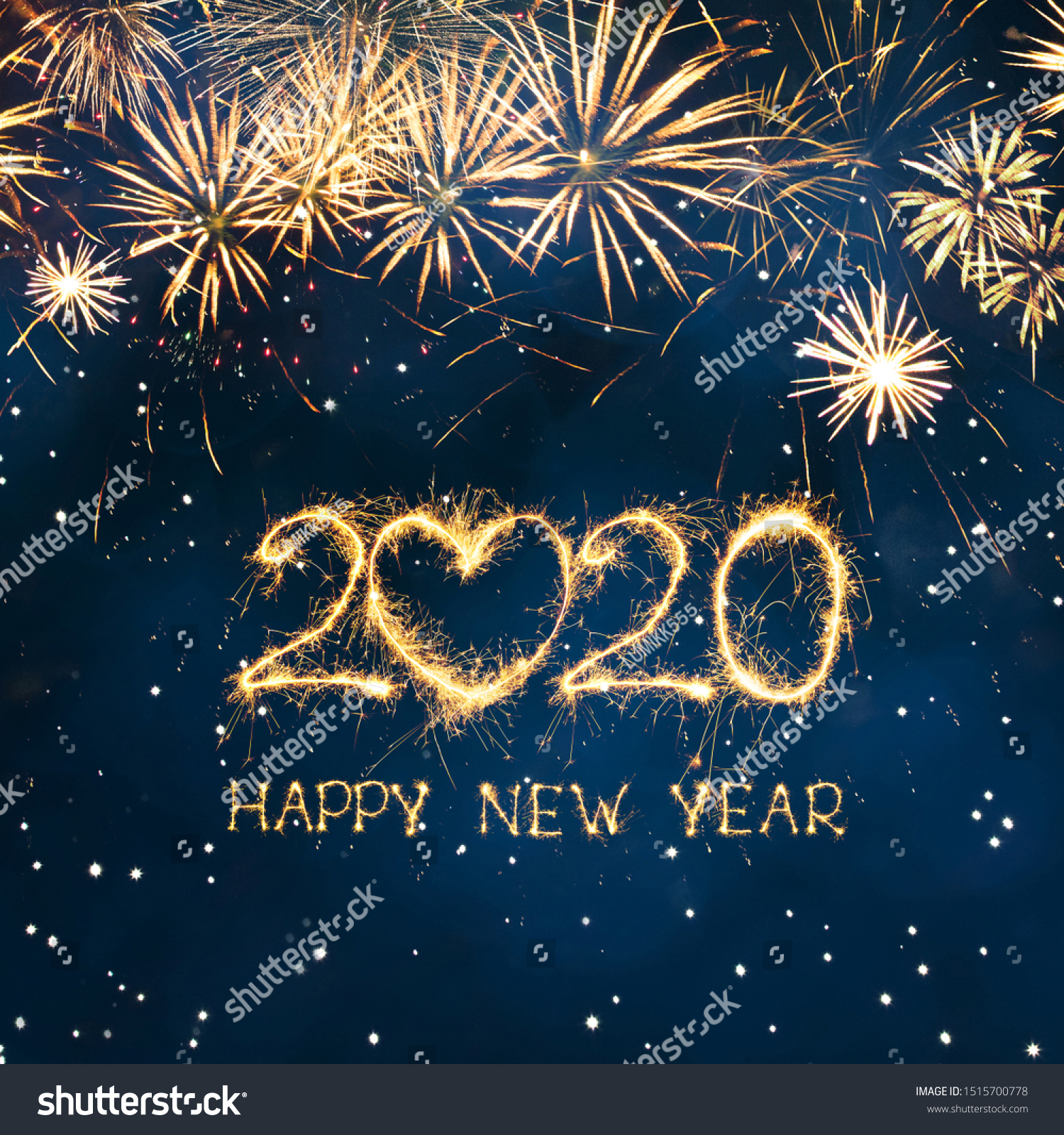 Greeting card Happy New Year 2020. Beautiful Square holiday web banner or billboard with Golden sparkling text Happy New Year 2020 written sparklers on festive blue background. #1515700778