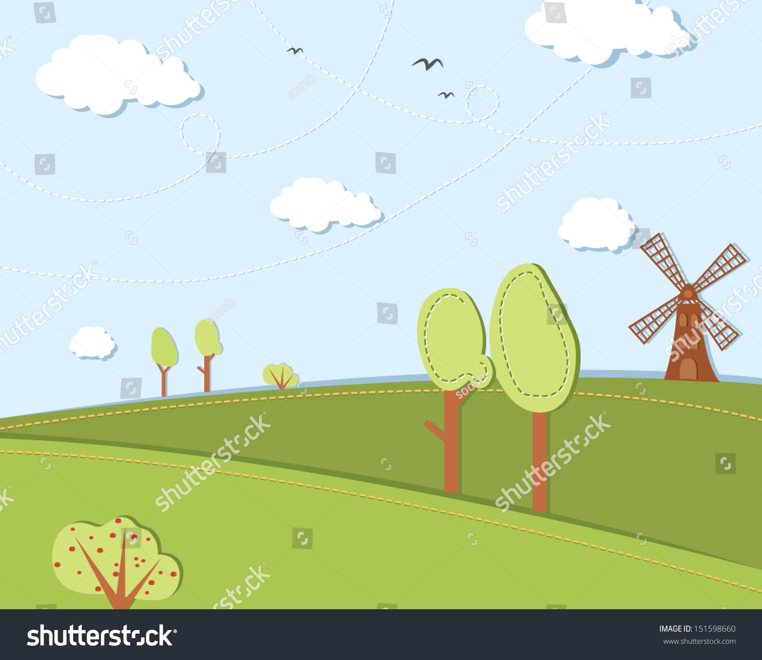 Vector Illustration Landscape Bright Simple Colors Stock Vector ...