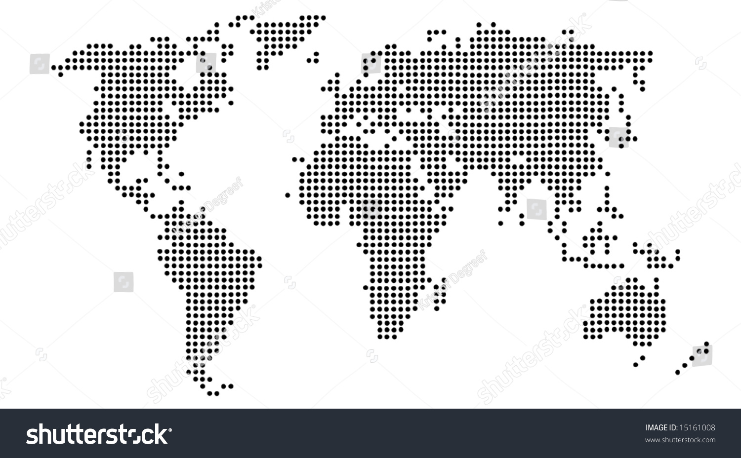 Map world continents made black white stock illustration 15161008 a map of the world with the continents made up of black and white dots gumiabroncs Gallery